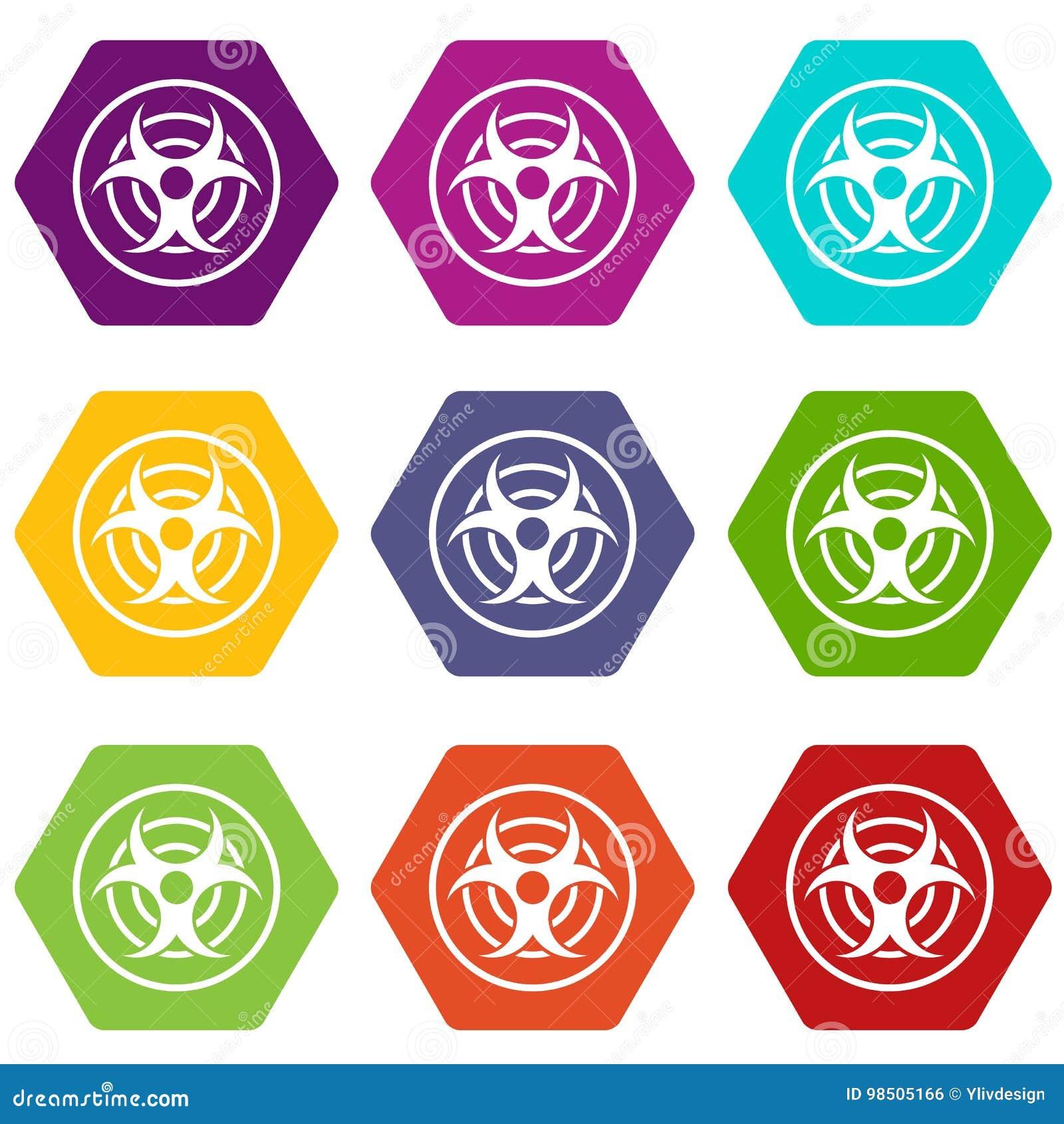 Teken van de biologische vastgestelde kleur van het bedreigingspictogram hexahedron
