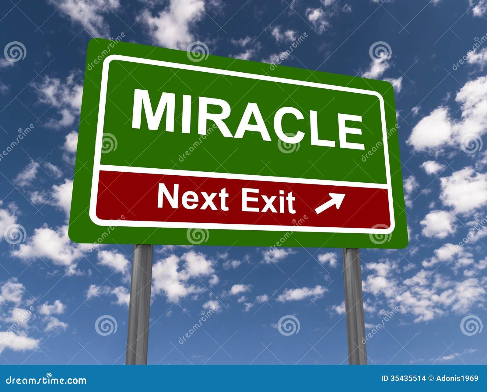 Teken van de mirakel het volgende uitgang