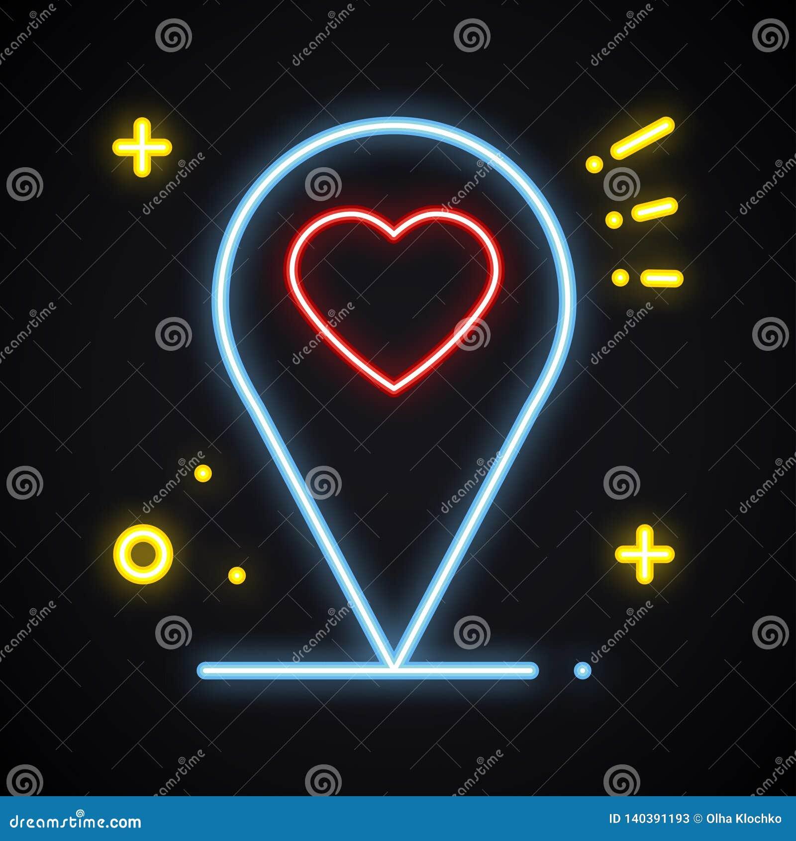 Teken van de neon het heldere plaats op donkere achtergrond De wijzersymbool van de kaartspeld nearsighted Het gloeien hartvorm