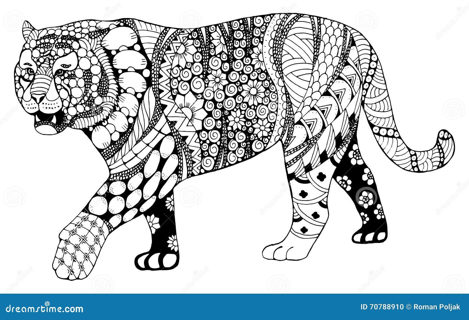 Volwassen Kleurplaat Kat Teken Van De Tijger Stileerde Het Chinese Dierenriem