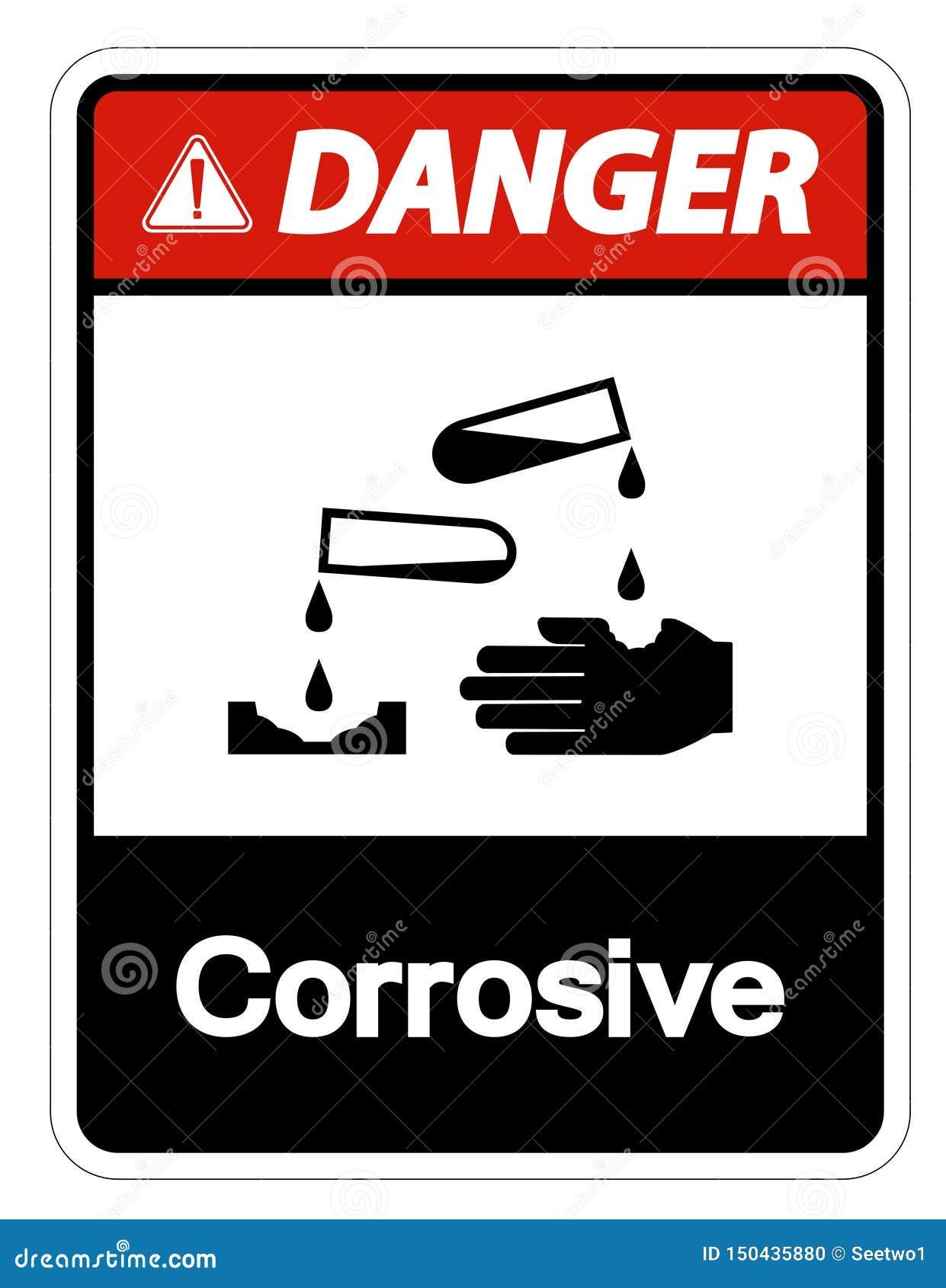 Teken van het gevaars isoleert het Corrosieve Symbool op Witte Achtergrond, Vectorillustratie