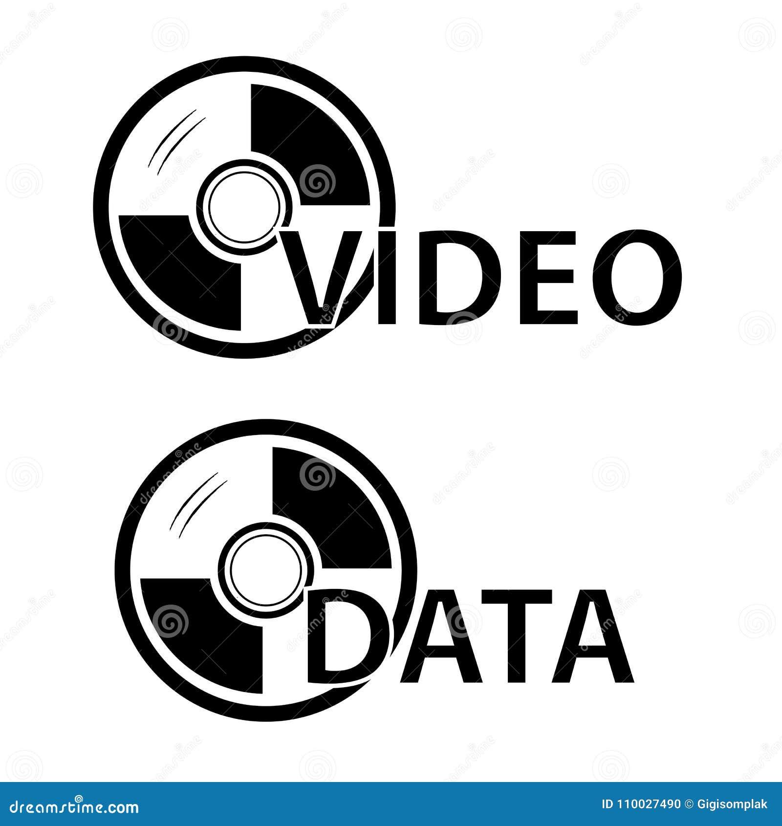 Teken voor de de Geïsoleerde Video en Gegevens van DVD, over Wit