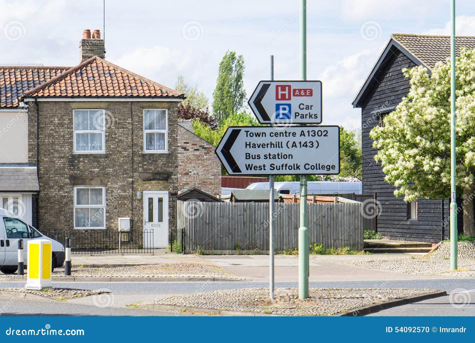 Teken voor Stadscentrum en busstation en plaatsen in Bury St Edmun