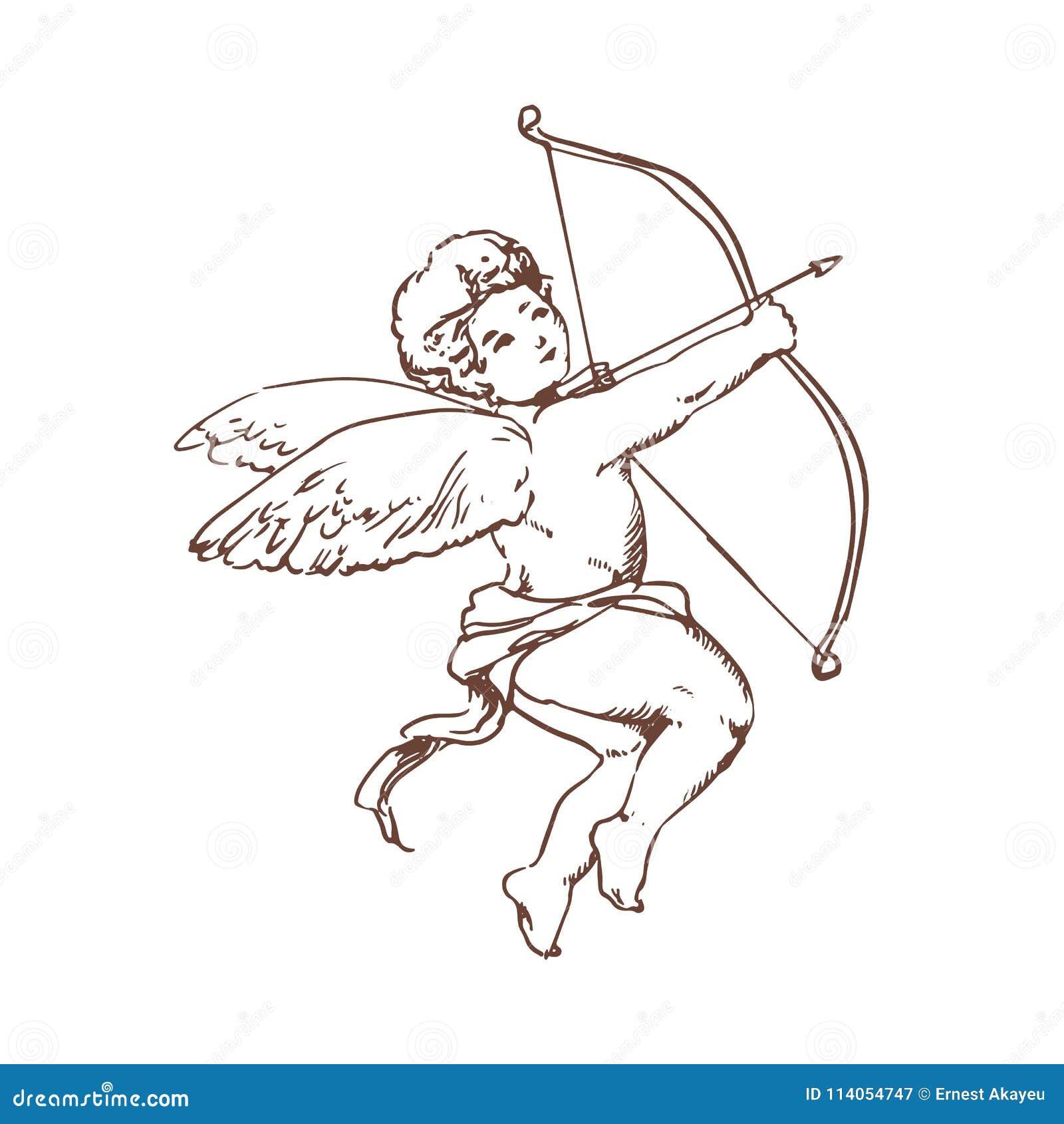 Tekening van aanbiddelijke Cupido met boog die die of pijl streven schieten op witte achtergrond wordt geïsoleerd God van romanti