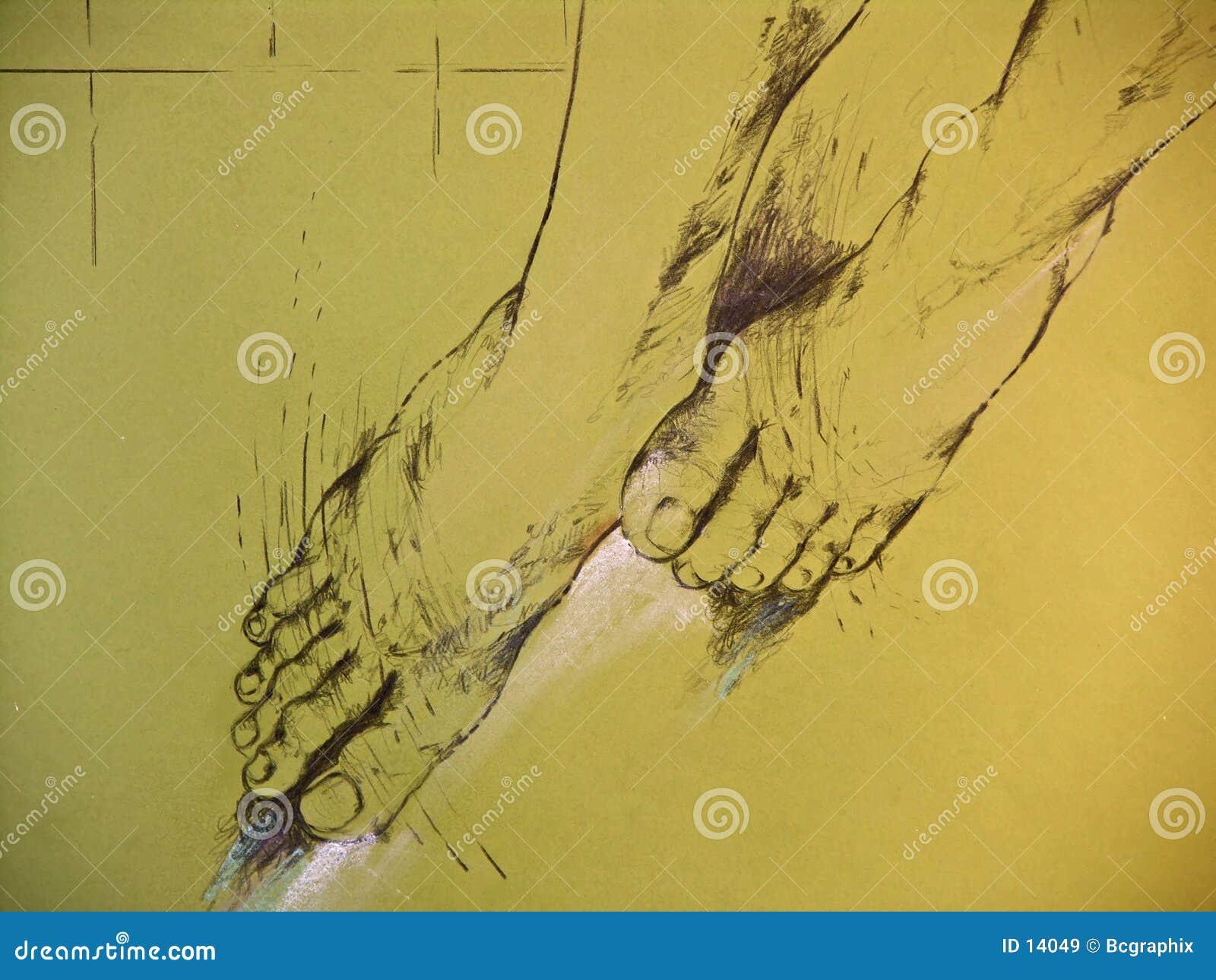 Tekening van de benen van de vrouw