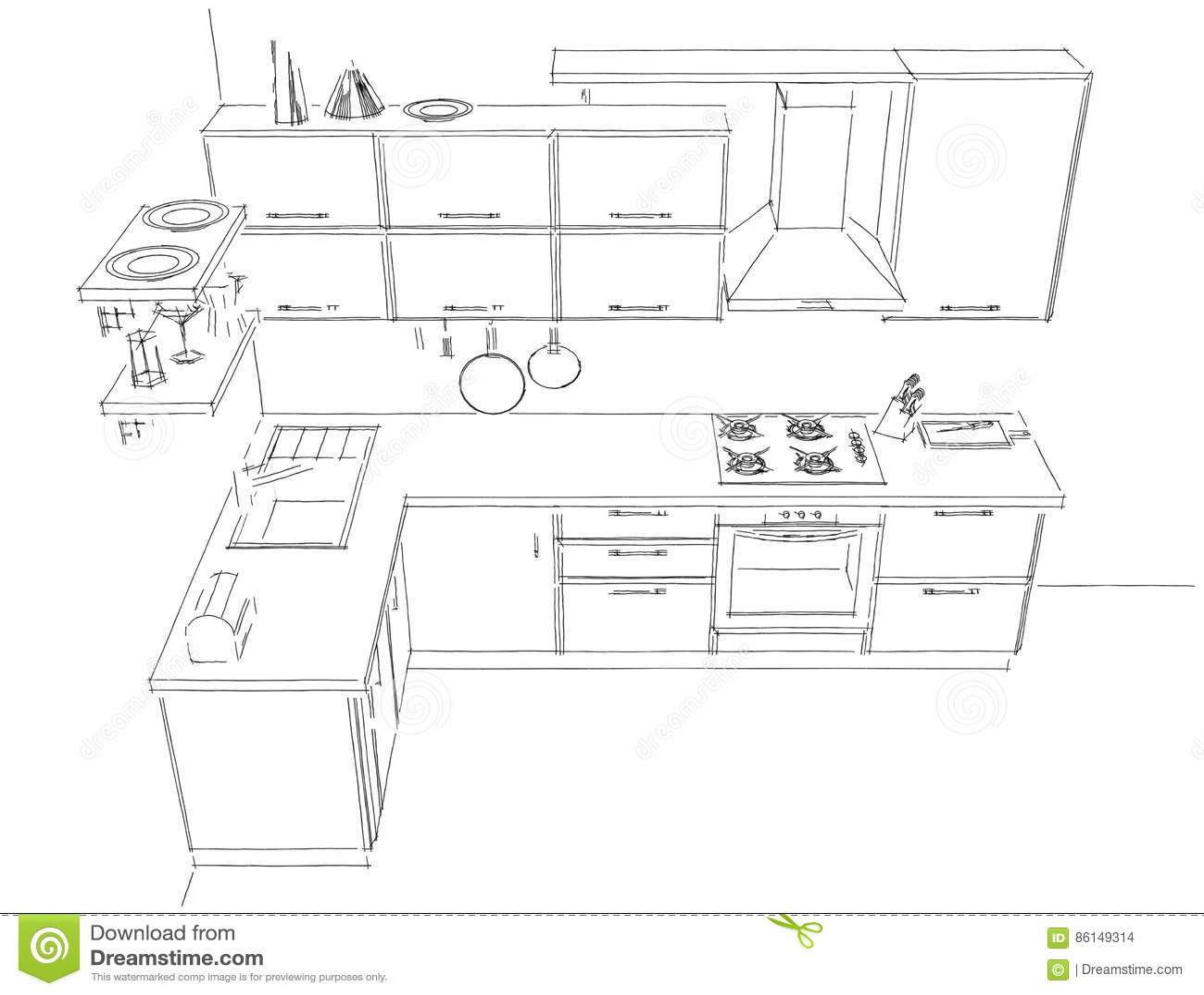 Tekening van de schets de abstracte contour van 3d moderne binnenlandse zwart wit van de - Progetto cucina angolare ...