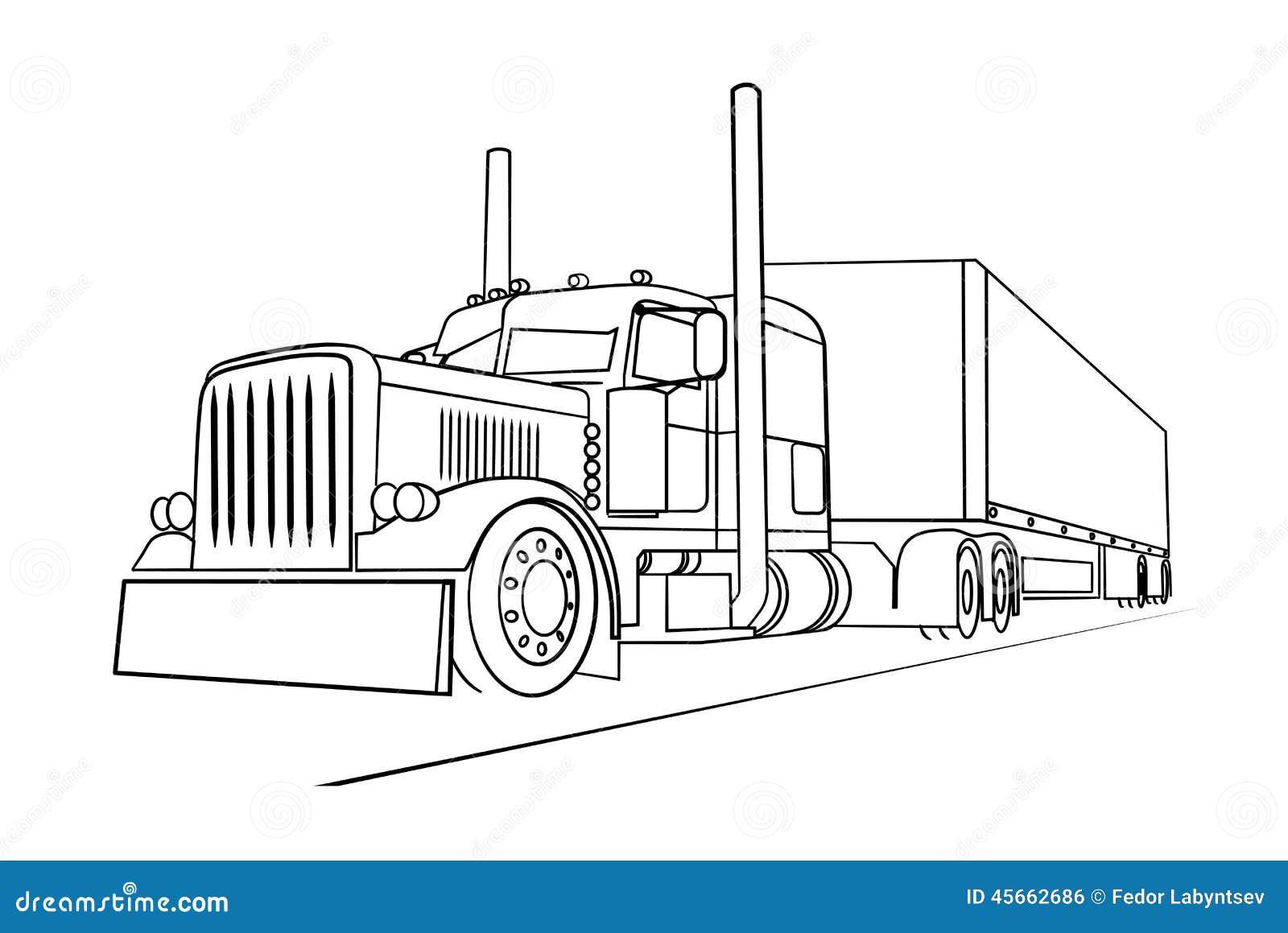 tekening de vrachtwagen die een lading vervoert vector
