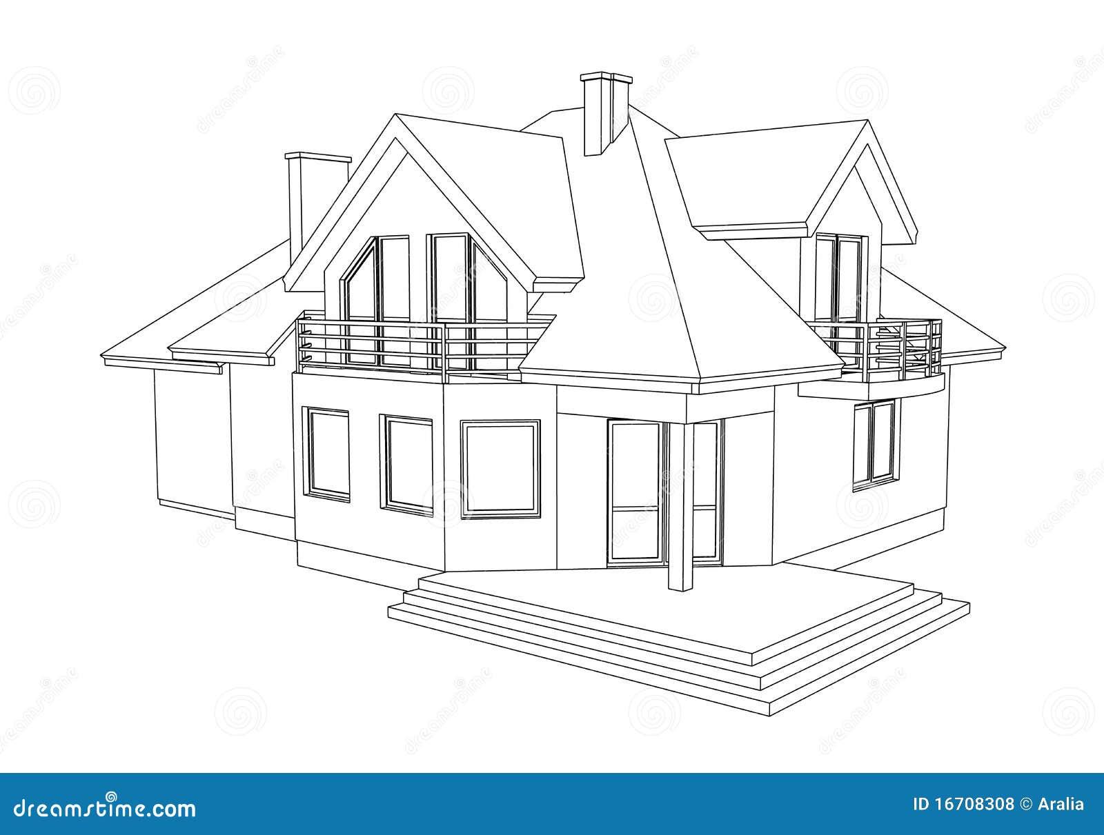 Verwonderlijk Tekening van een huis stock illustratie. Illustratie bestaande uit TL-04
