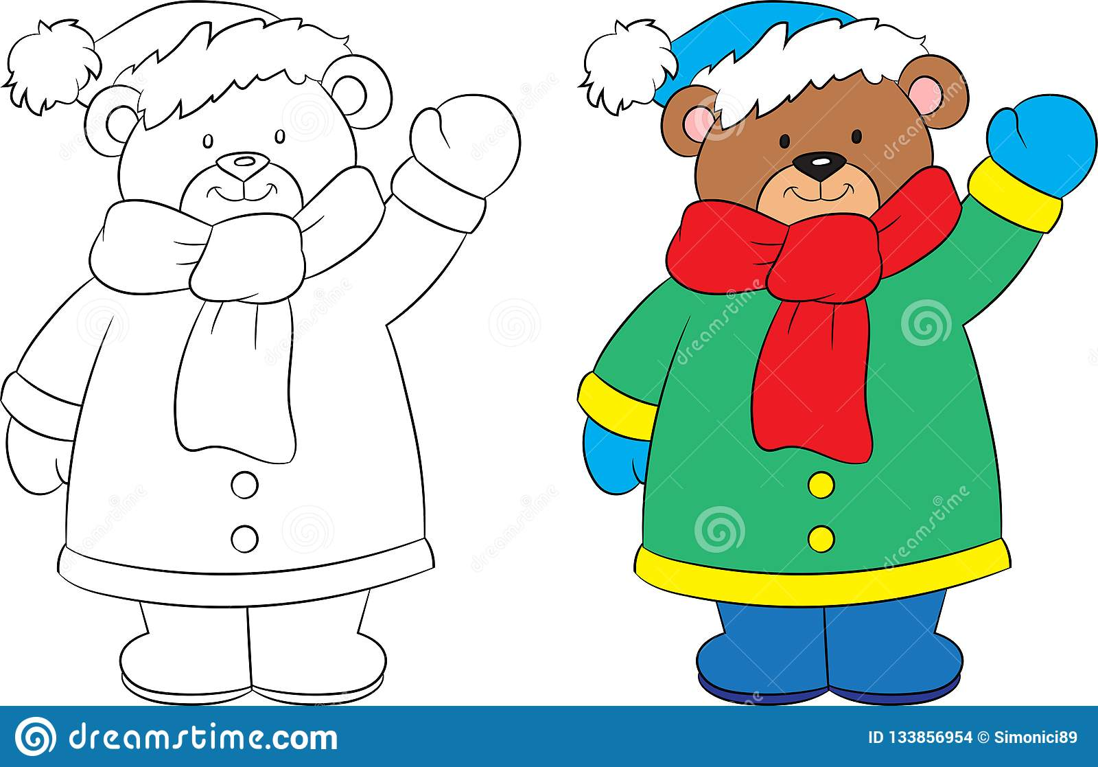 Before and after tekening van een leuke kleine teddybeer, zwart-wit en een kleur, in de winter, ideaal voor de kleuringsboek van