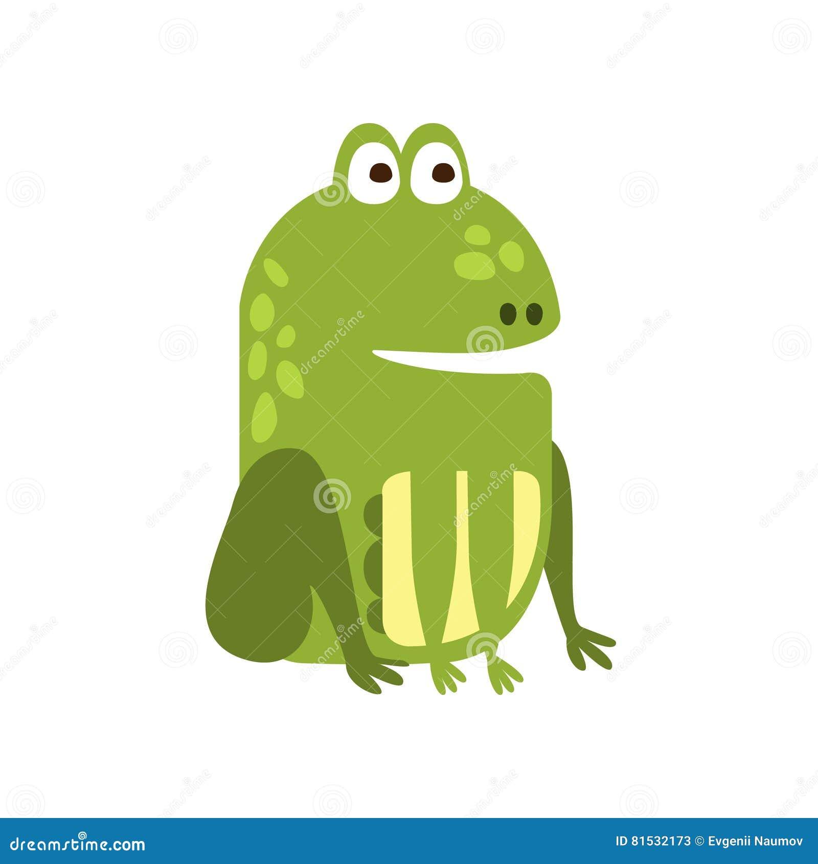 Tekening van het het Beeldverhaal Groene Vriendschappelijke Reptiel Dierlijke Karakter van de kikkerzitting de behoorlijk Vlakke