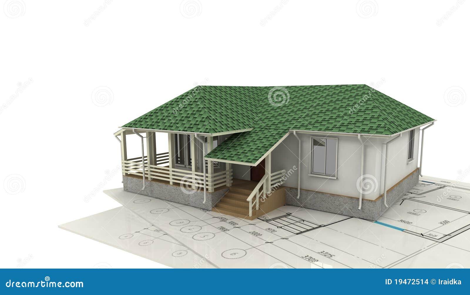 Tekening van het huis en zijn 3d model stock afbeeldingen afbeelding 19472514 - Huis exterieur model ...