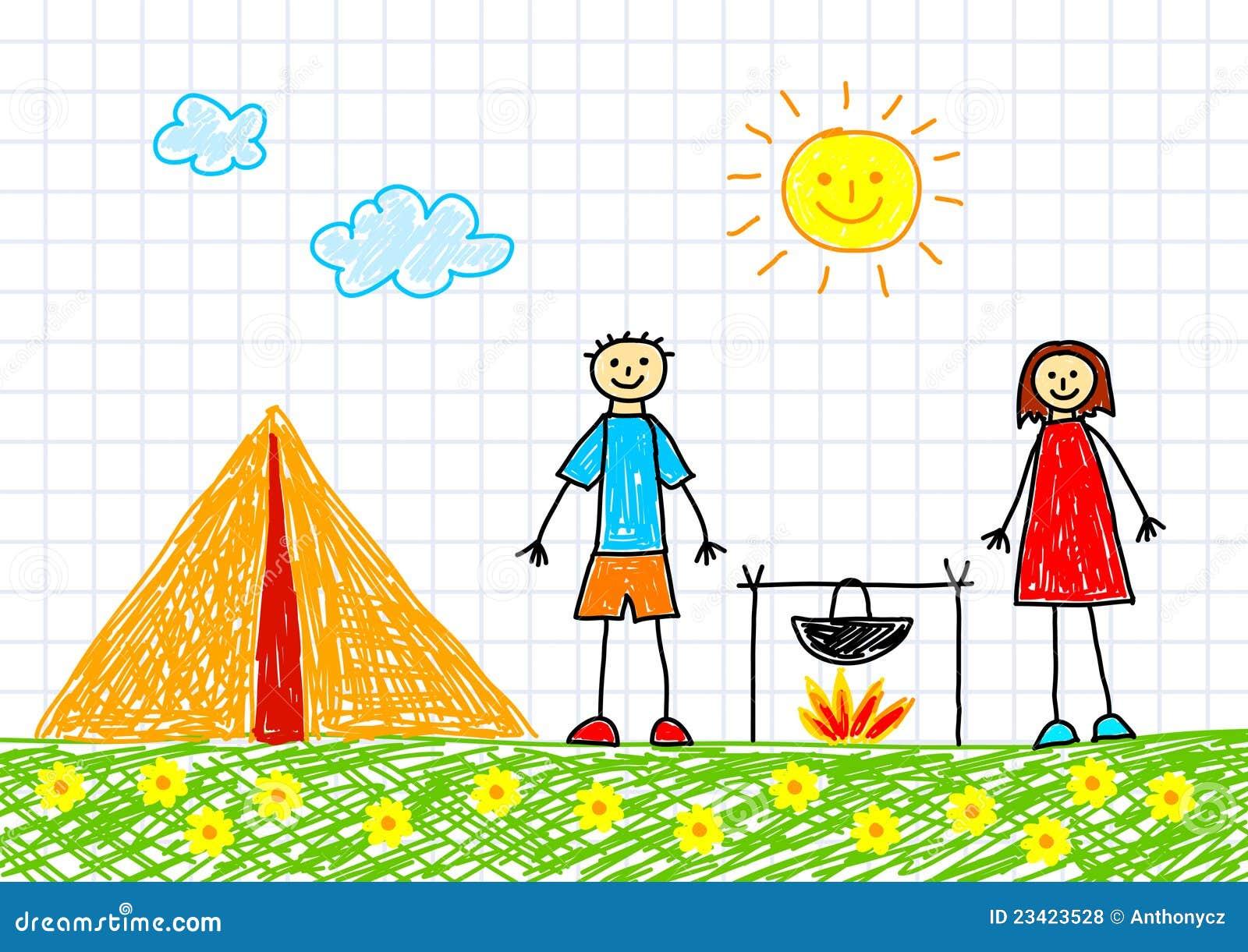 Tekening Van Kinderen Met Tent Royalty-vrije Stock Fotos - Afbeelding ...