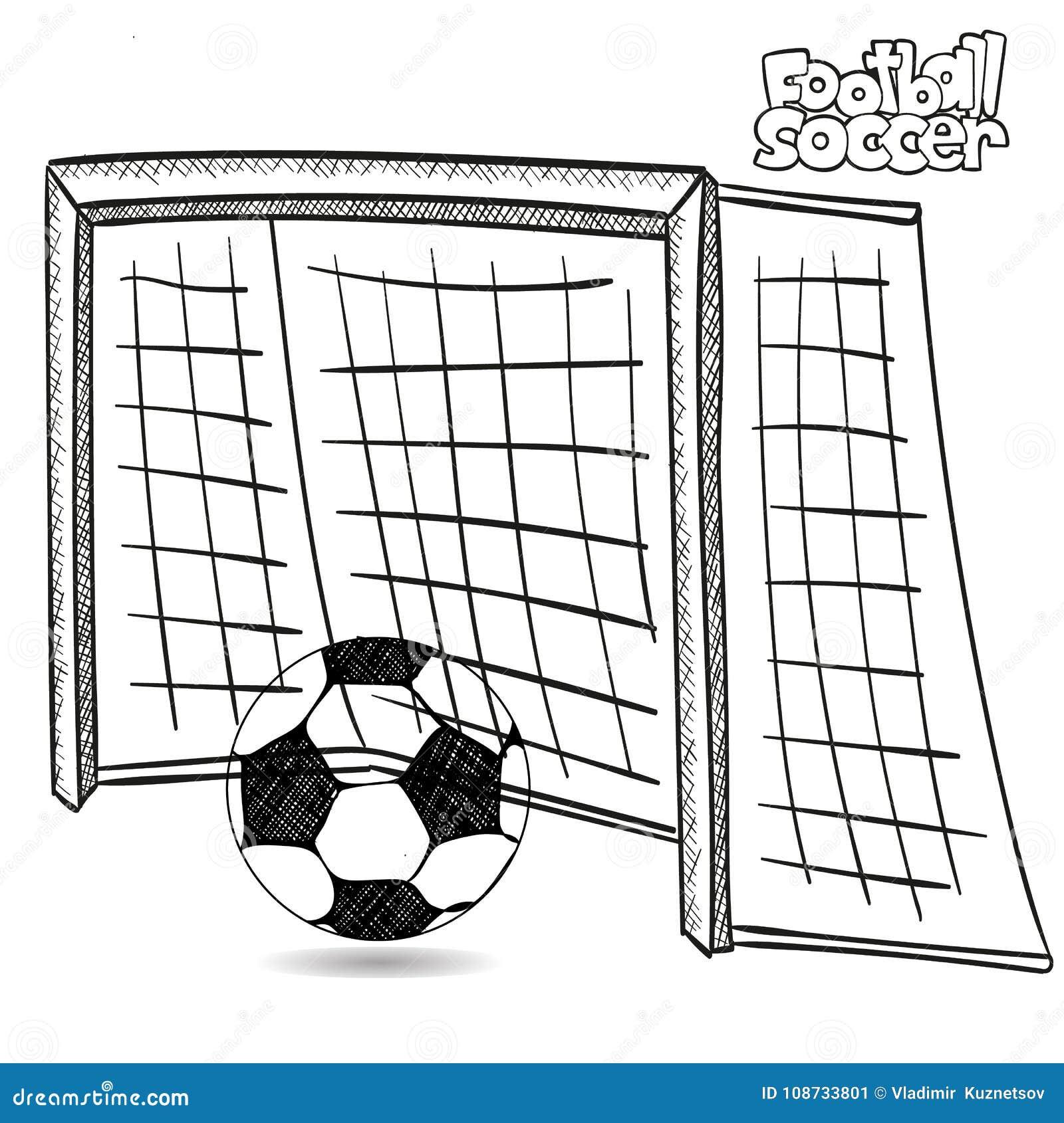 tekening voetbaldoel en voetbalbal op witte