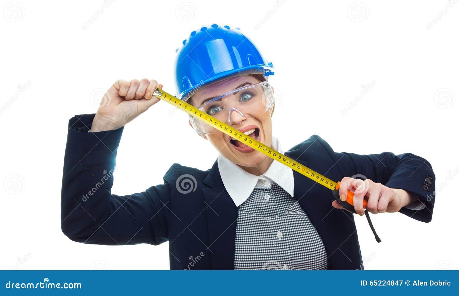 Teknikerkvinna över vit bakgrund