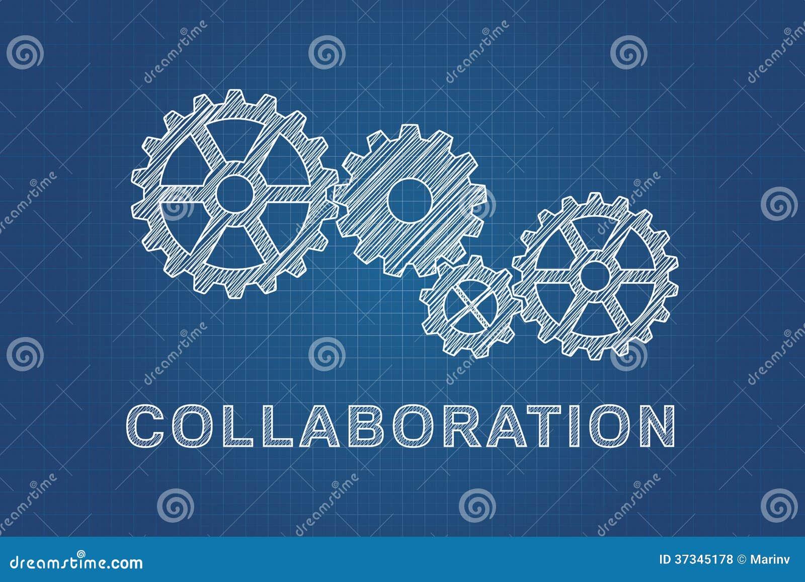 Teknisk teckning av kugghjul, idé av teamwork