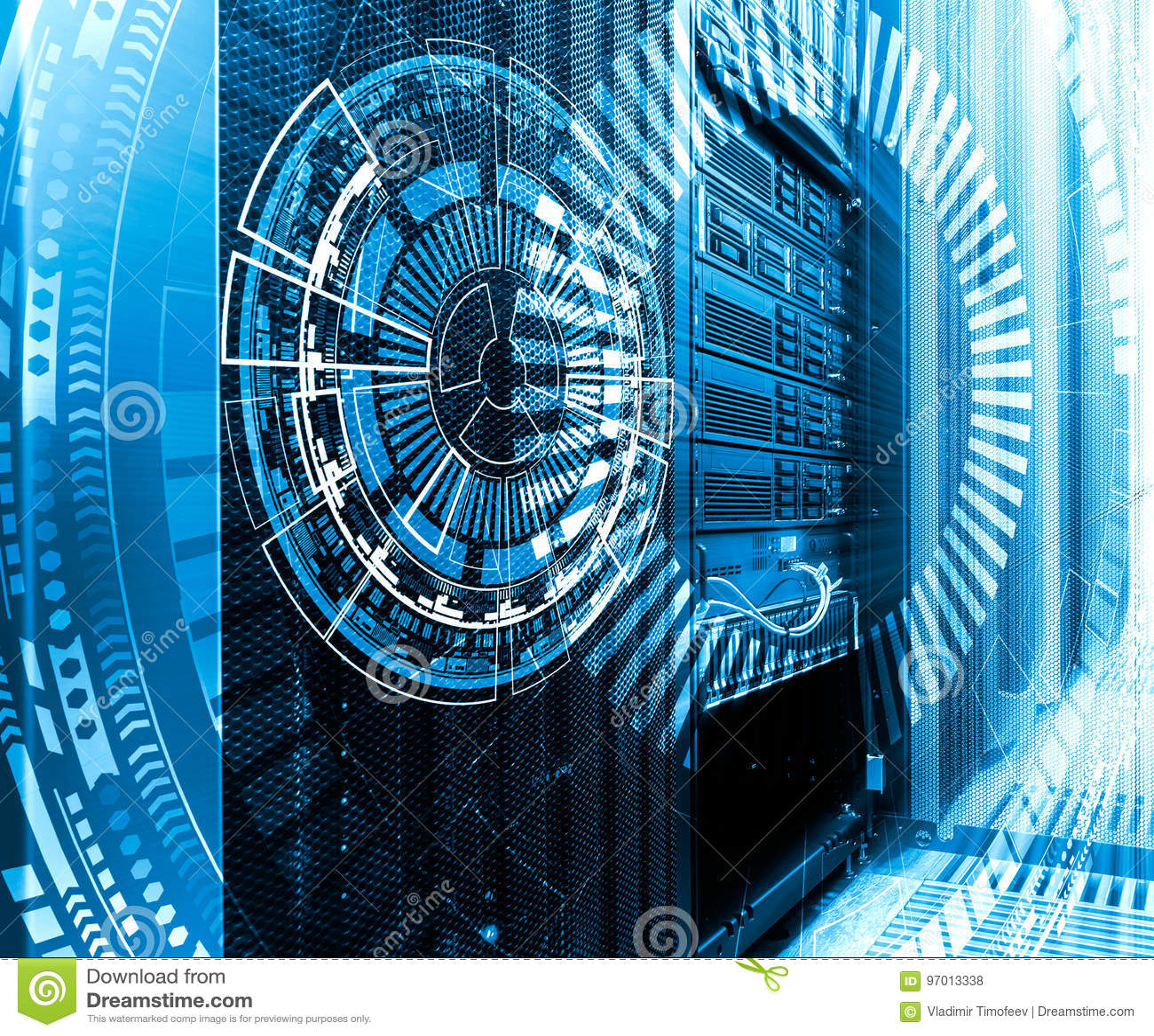 Teknologi-, cyberspace- och virtuell verklighetbegrepp - hologram med teknologisk bakgrund