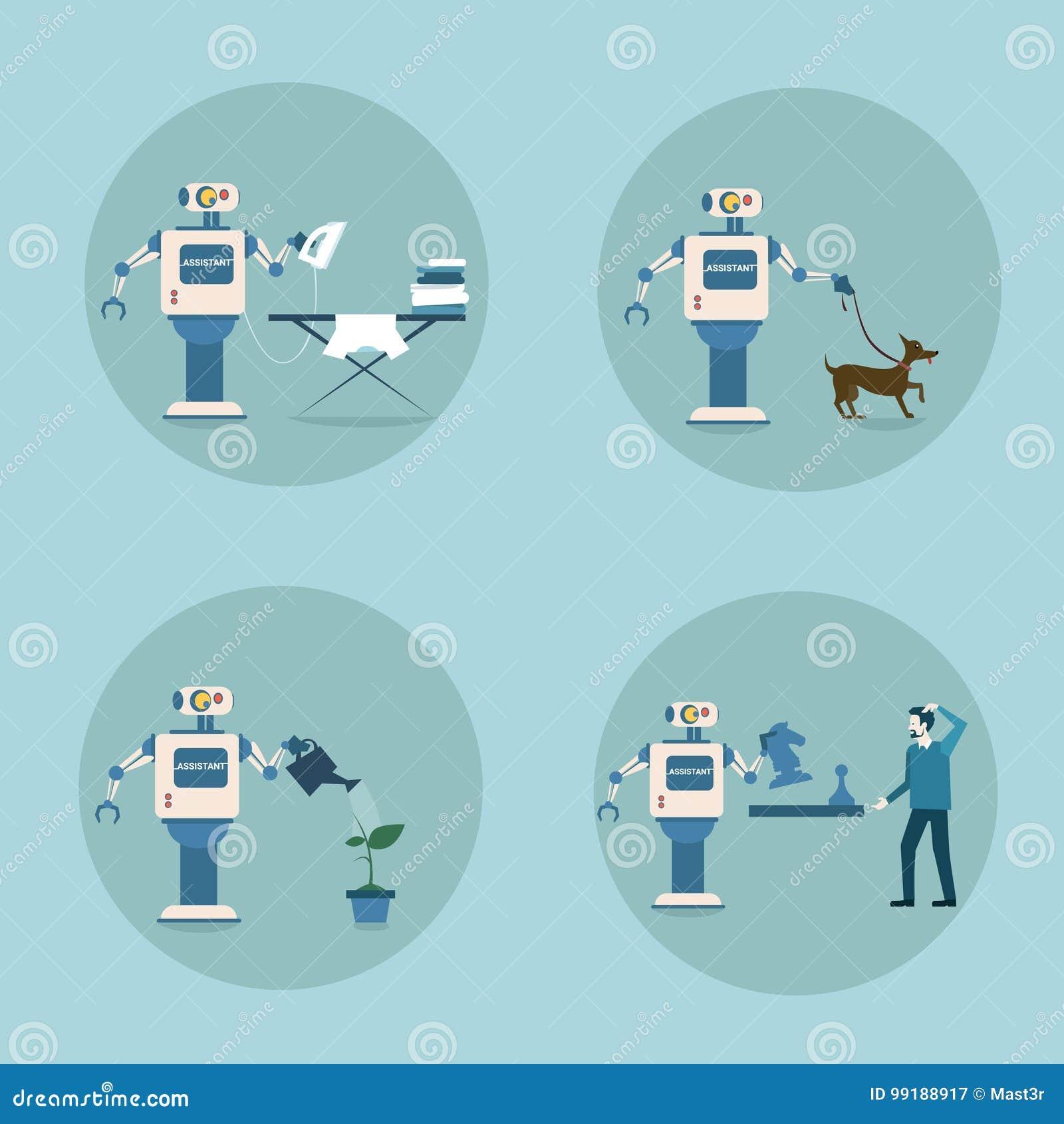 Teknologi för hushållning för mekanism för konstgjord intelligens för modern robotsymbolsuppsättning futuristisk