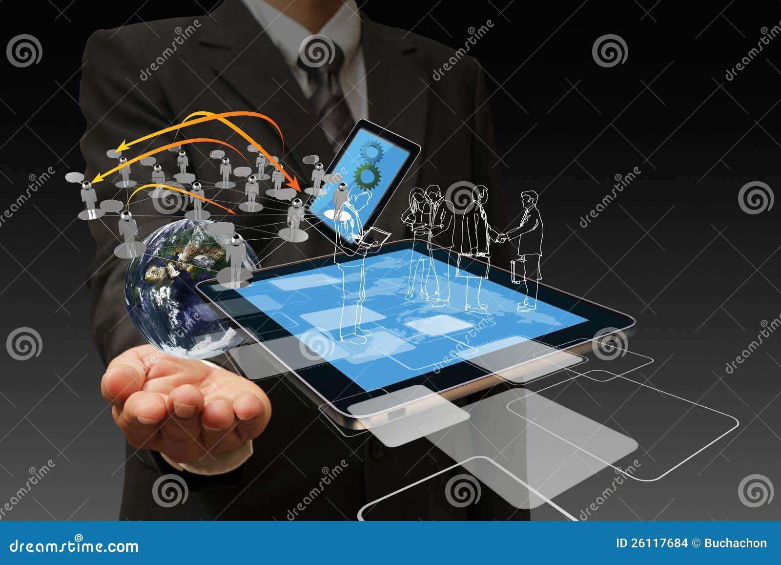 Teknologi i handen av affärsmän