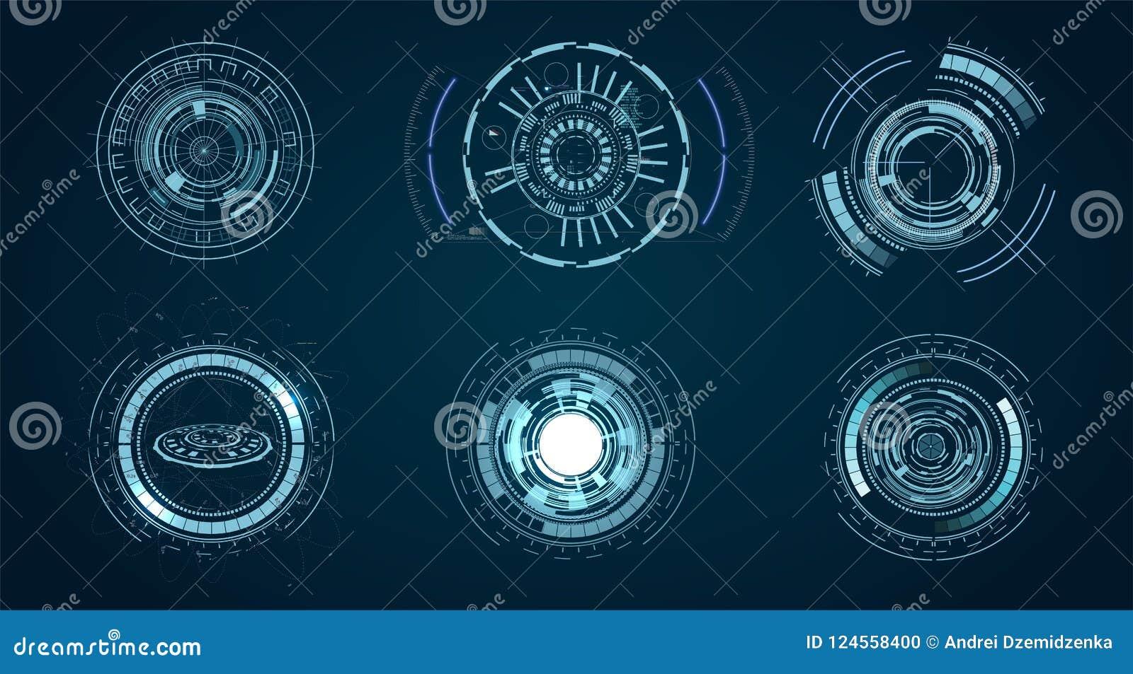 Teknologiska HUD beståndsdelar, futuristisk manöverenhetsvirtuell verklighet Hud futuristisk mall cirkel som är digital av teknol