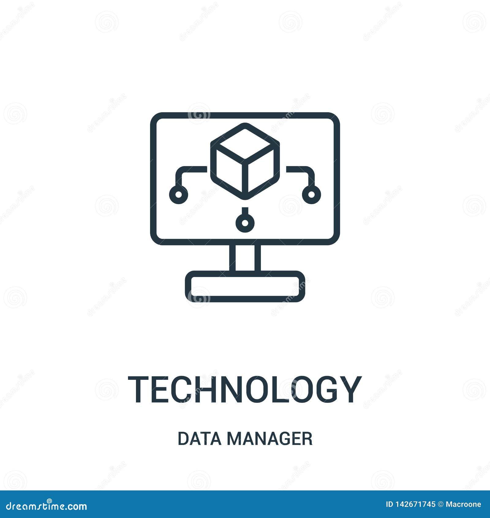 Teknologisymbolsvektor från datachefsamling Tunn linje illustration för vektor för teknologiöversiktssymbol Linjärt symbol för br