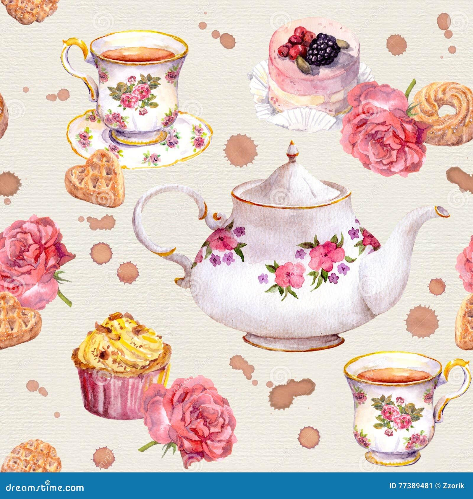 Tekruka, tekopp, kakor, blommor Upprepa teatimemodellen akvarell