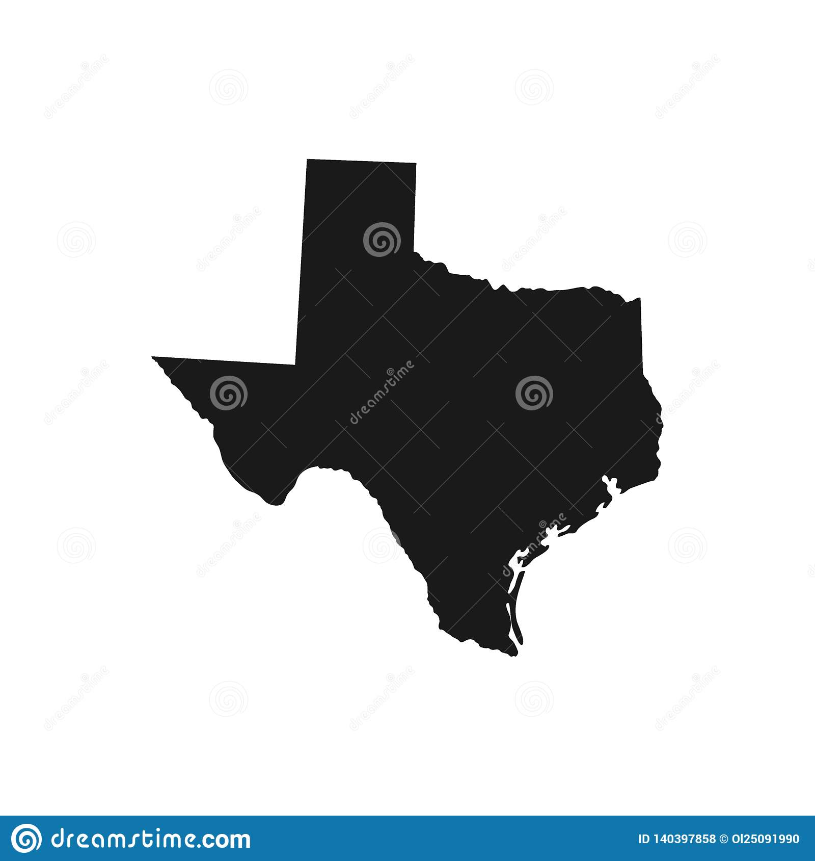 Teksas, stan usa - stała czarna sylwetki mapa kraju teren