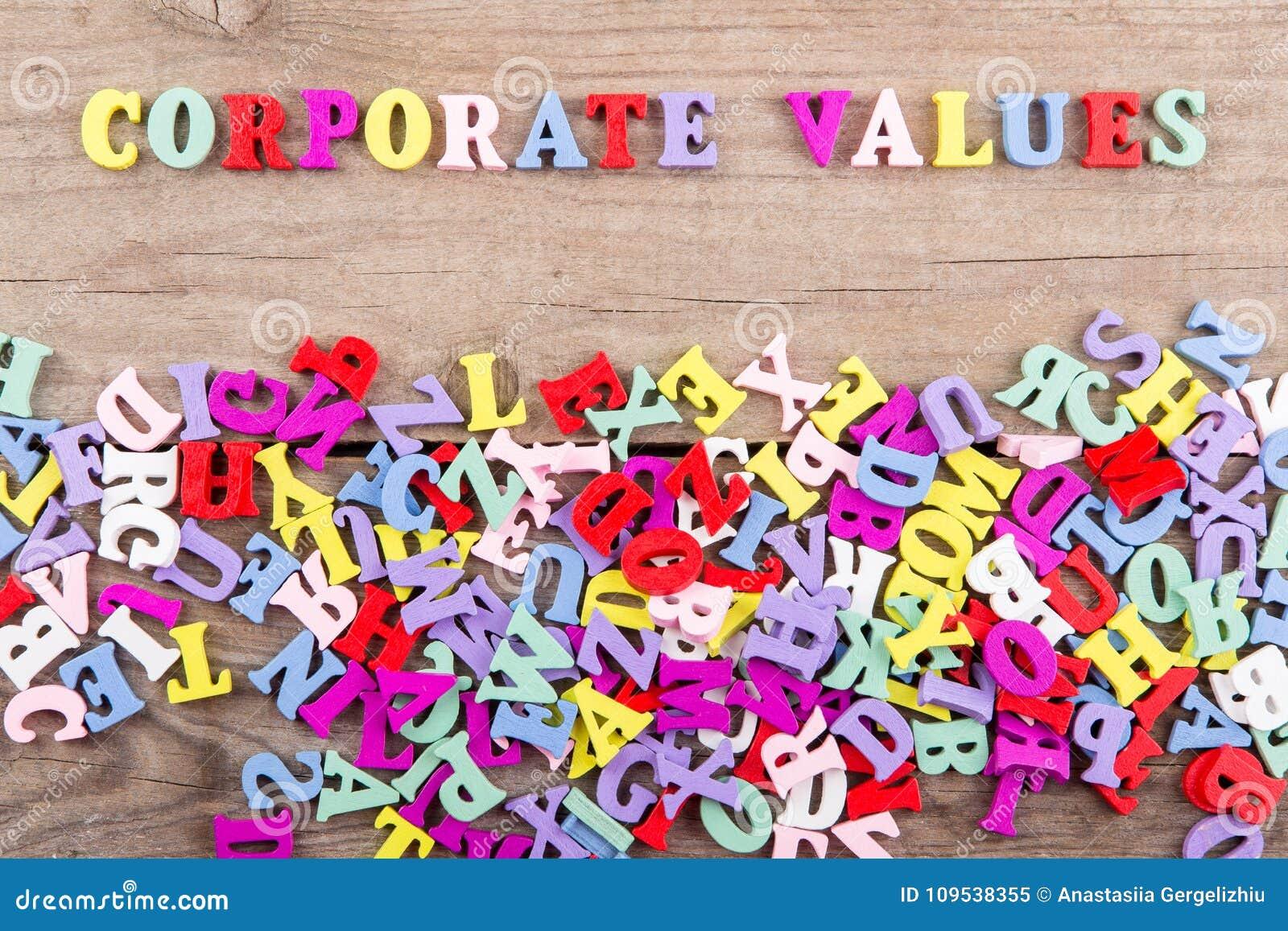 Tekst 'Collectieve waarden van gekleurde houten brieven