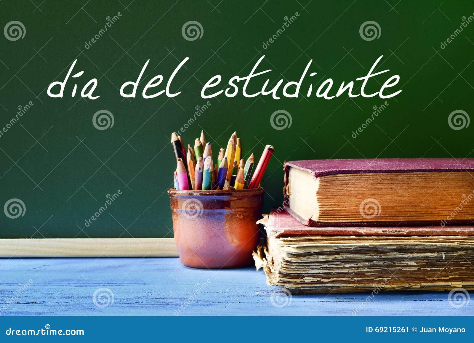 Tekst Dia Del Estudiante Studentendag In Het Spaans Stock