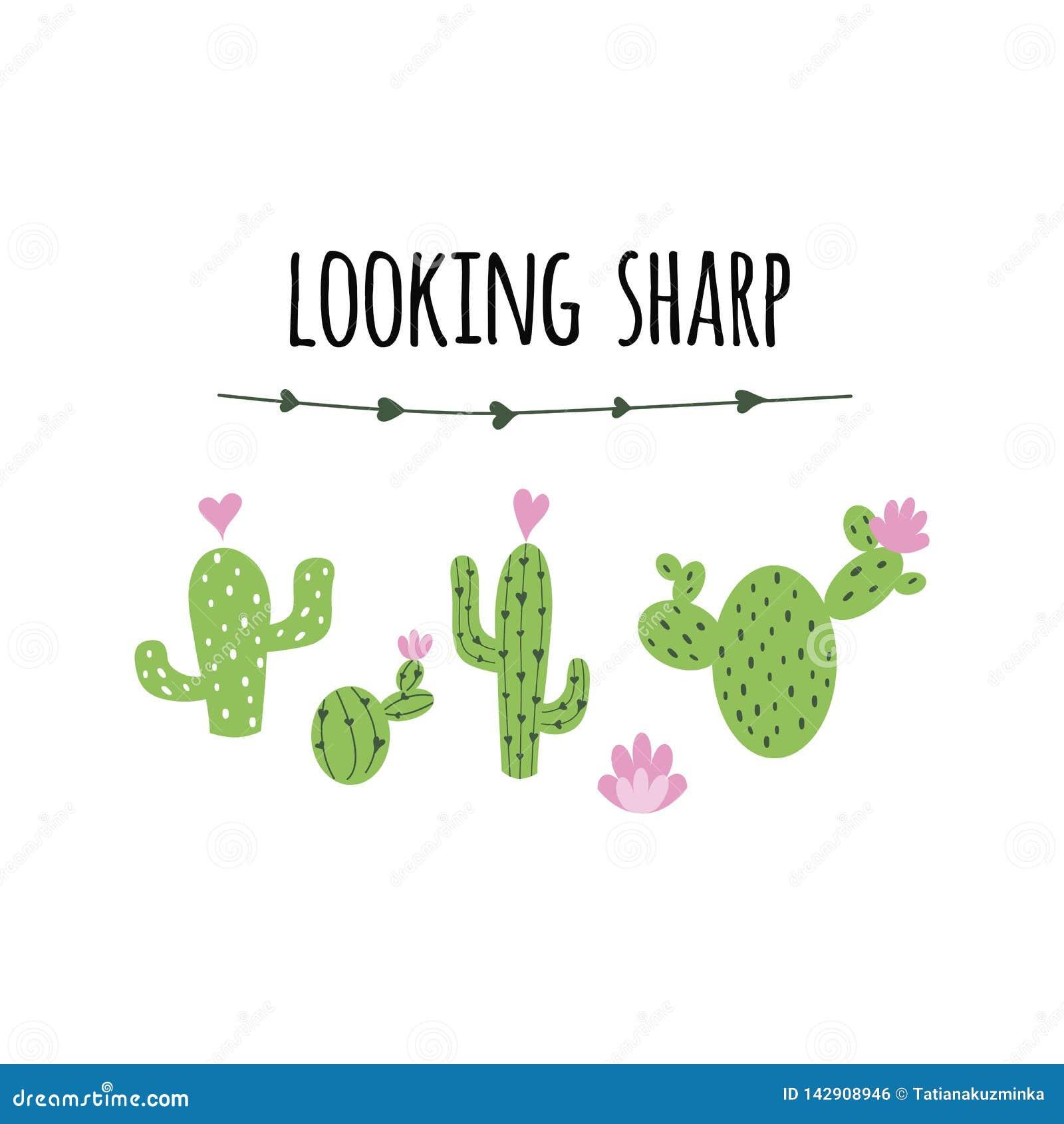 Tekst die scherpe vectorkaart kijken Leuke hand getrokken Stekelige cactusdruk met inspirational citaat