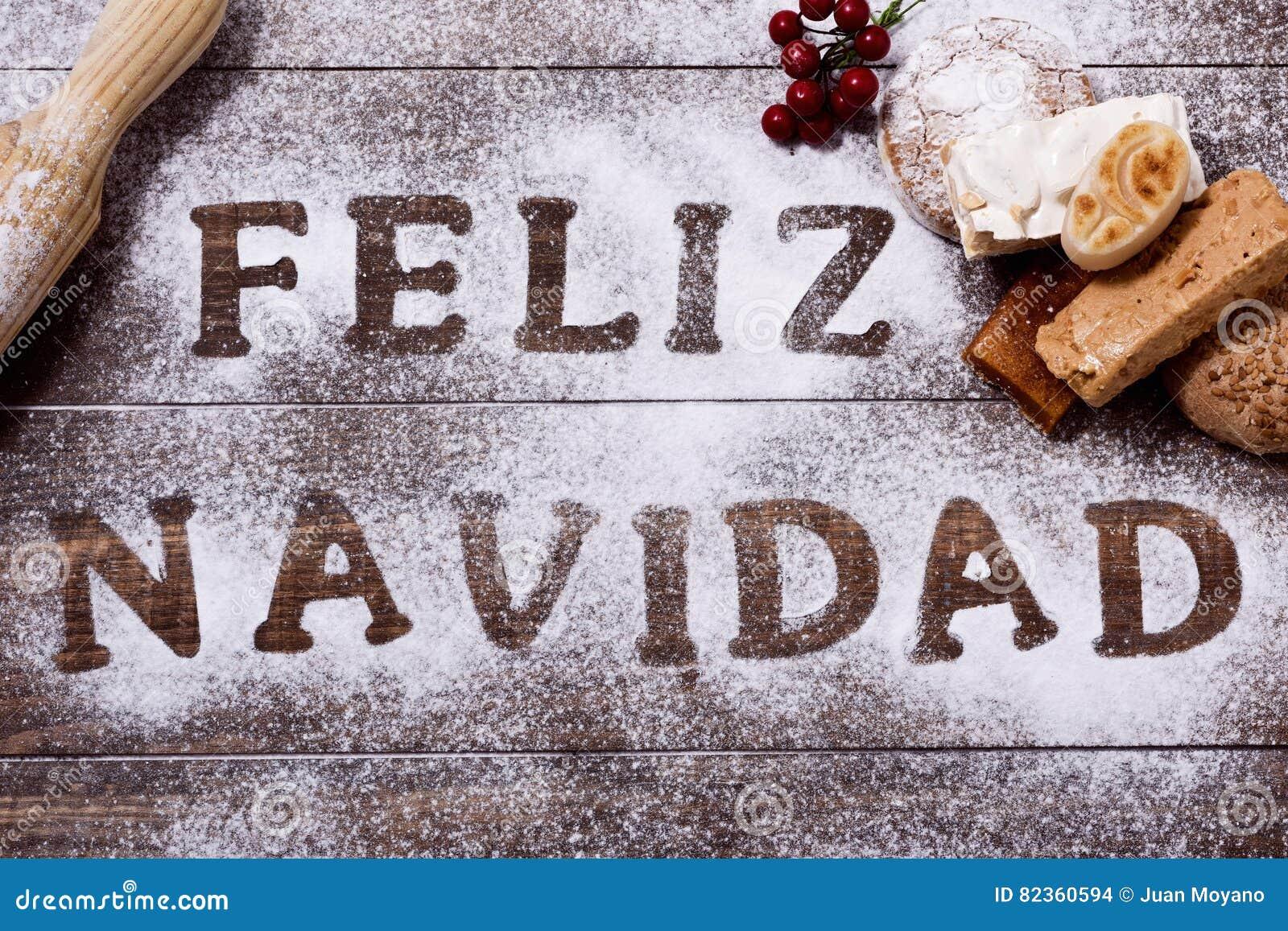 Tekst Feliz Navidad, Vrolijke Kerstmis In Het Spaans Stock ...