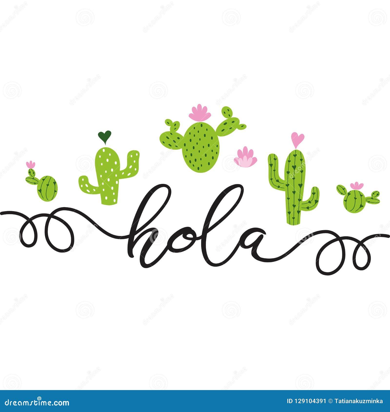 Tekst Hello in Spaanse Hand getrokken leuke de Liefdecactussen van het cactushart, het Leuke malplaatje van de groetkaart