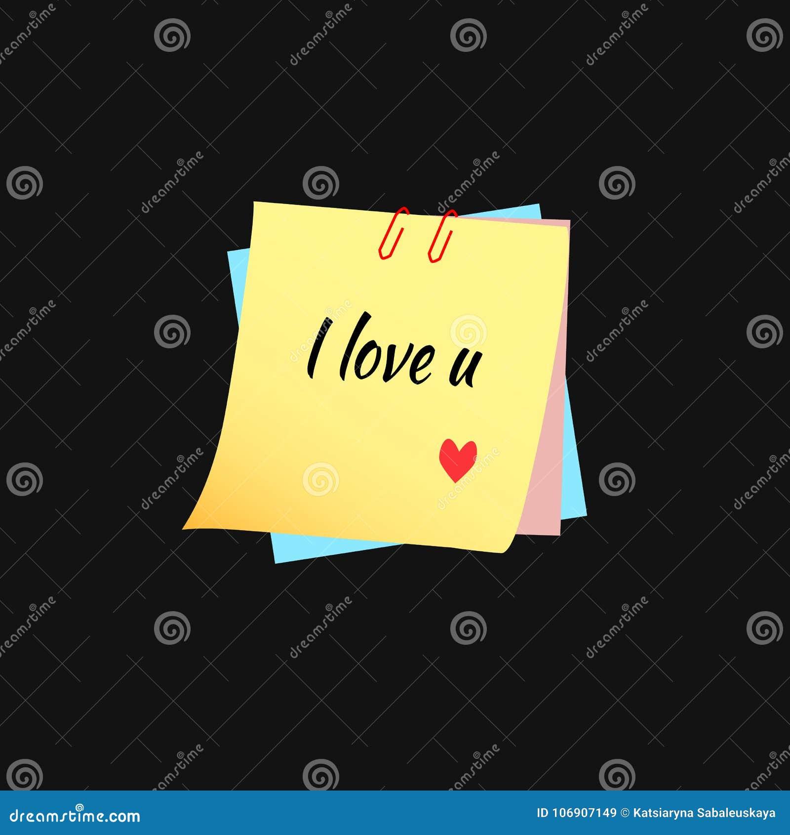 Tekst kocham ciebie na kleistych notatkach na czarnym tle