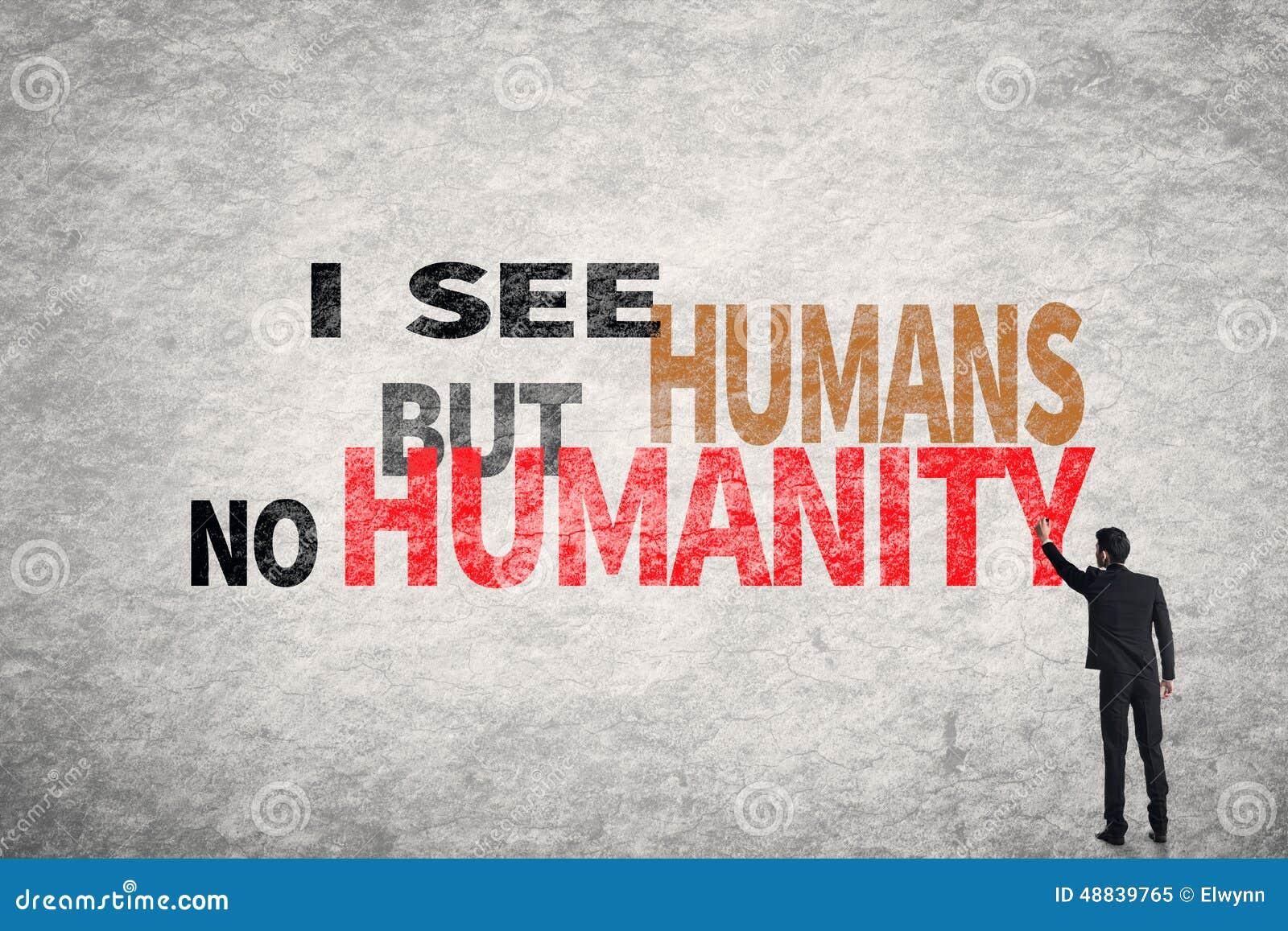 Tekst Op Muur.Tekst Op Muur Zie Ik Mensen Maar Het Geen Mensdom Stock Afbeelding