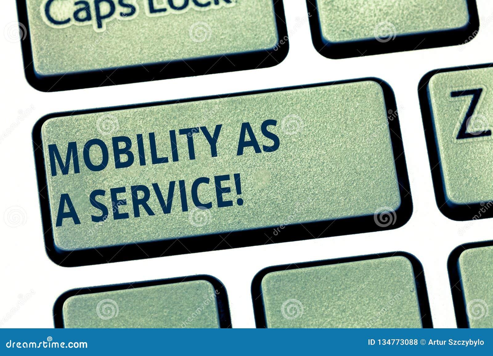 Tekst szyldowa pokazuje ruchliwość Jako usługa Konceptualnego fotografii technologii pomocy Mobilnego onlinego poparcia Klawiatur