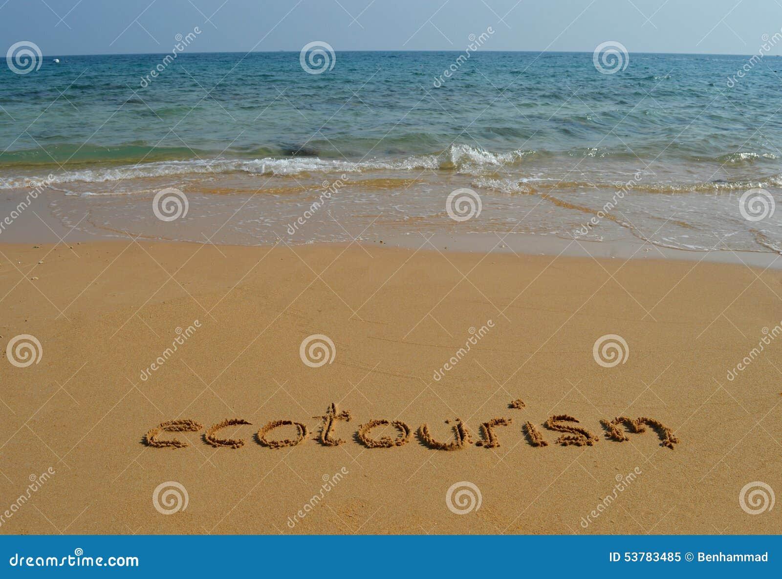 Teksta ecotourism w piasku