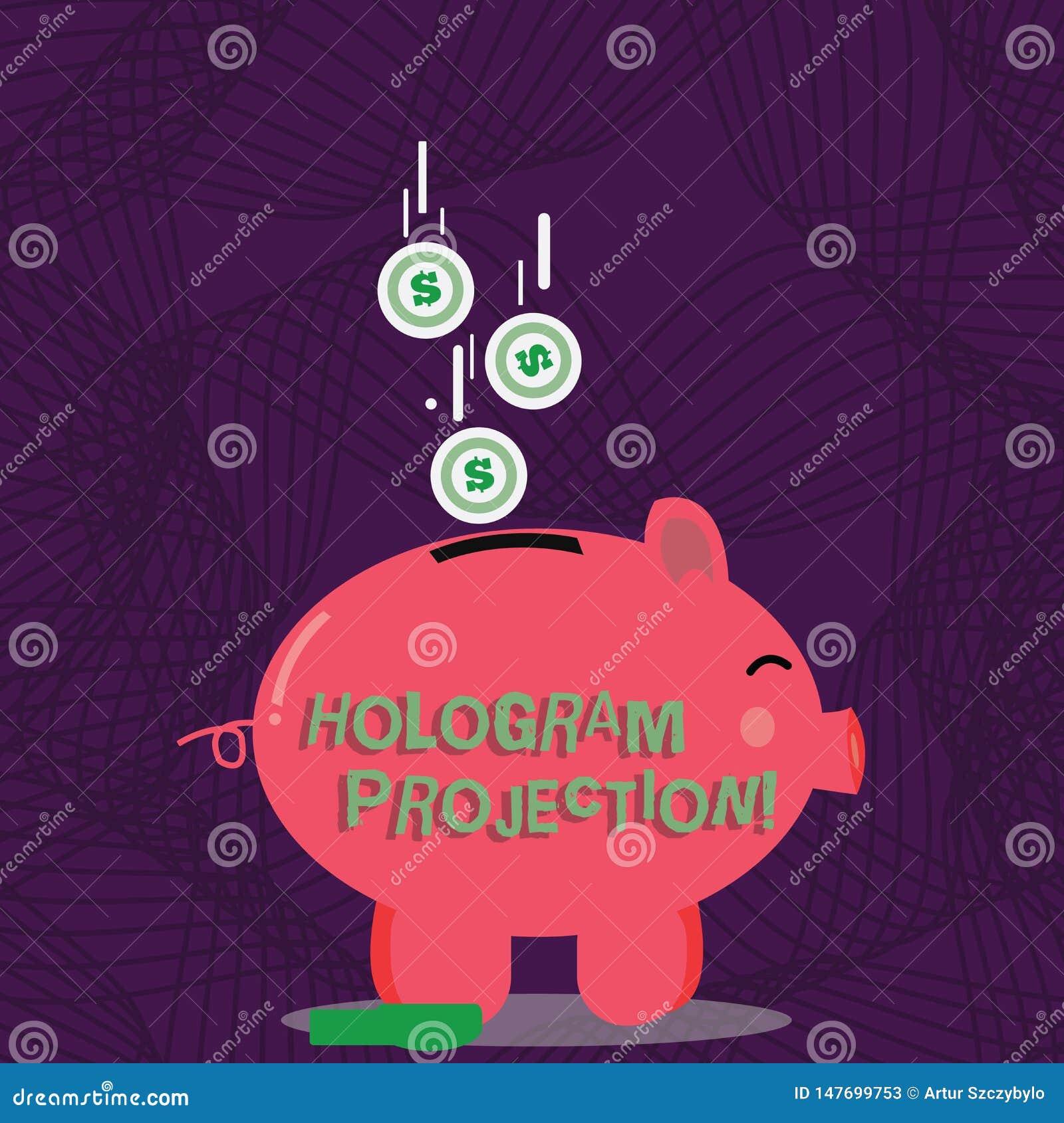 Teksta holograma szyldowa pokazuje projekcja Konceptualnej fotografii fotograficzna projekcja nagranie lekkiego koloru prosiątko