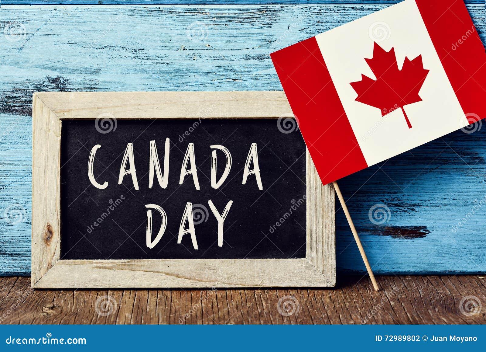 Teksta Kanada dzień i flaga Kanada