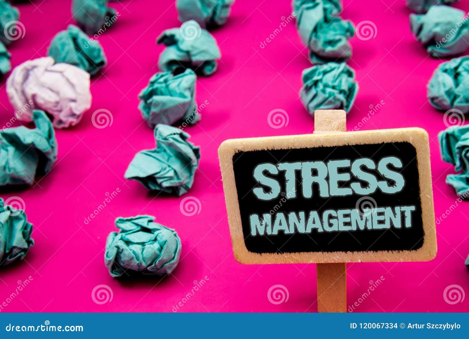 Teksta stresu szyldowy pokazuje zarządzanie Konceptualny fotografii medytaci terapii relaksu Positivity opieki zdrowotnej Blackbo