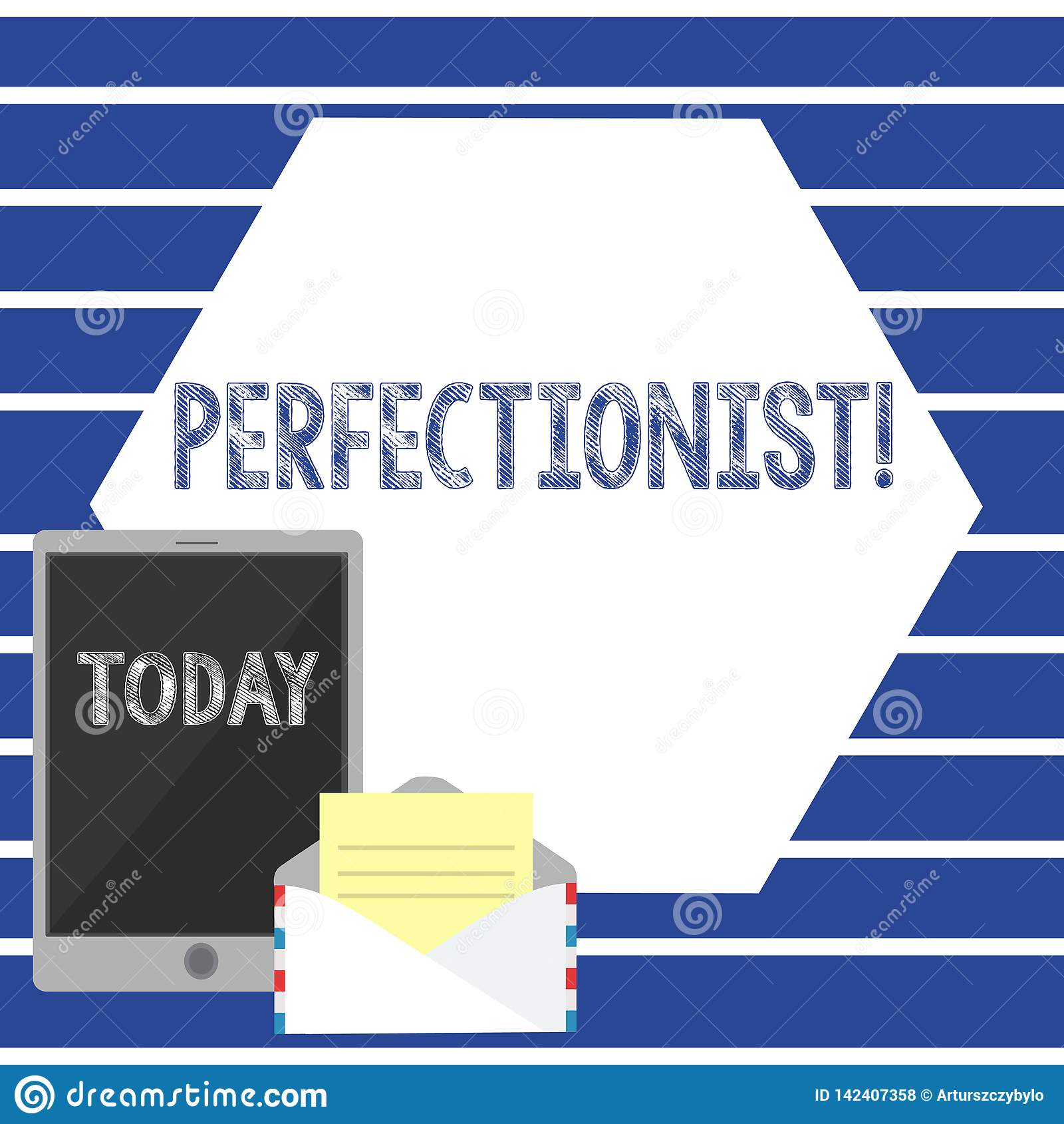 Teksta szyldowy pokazuje perfekcjonista Konceptualna fotografii osoba która chce everything być doskonalić Wysokimi standardami O