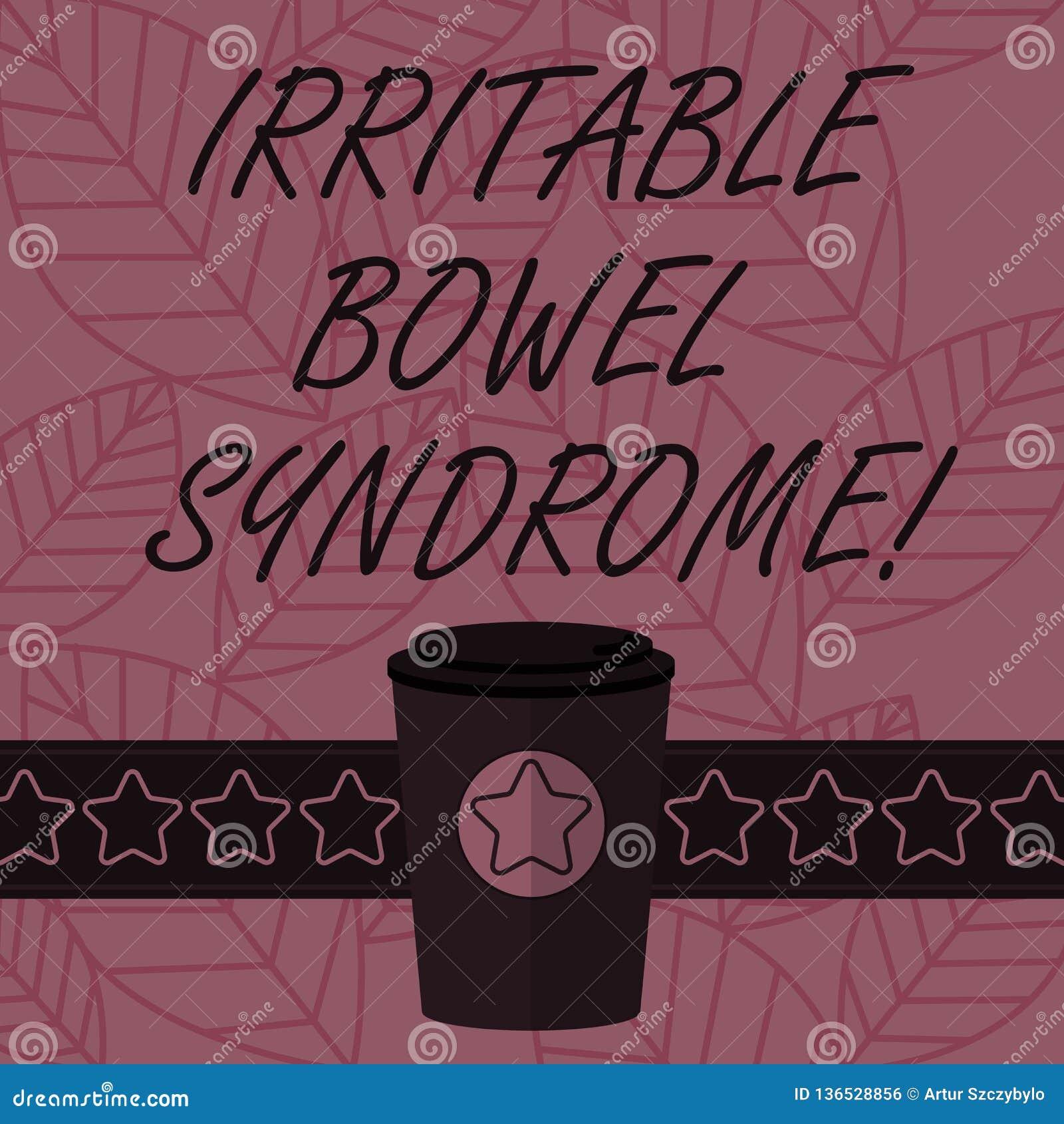 Teksta znak pokazuje Gniewliwej kiszki syndrom Konceptualny fotografia nieład wymaga brzuszną bólu i biegunki 3D kawę Iść filiżan