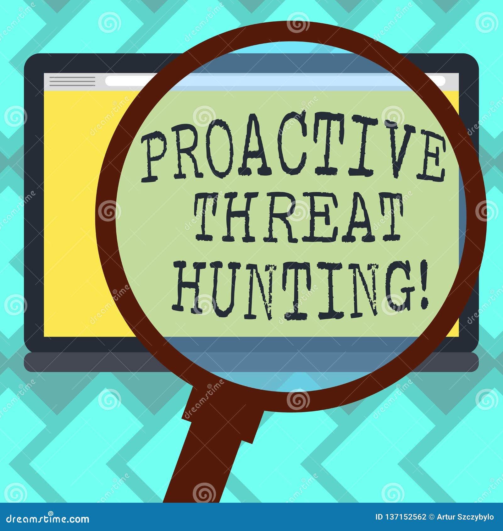 Teksta znak pokazuje Proaktywnie zagrożenia polowanie Konceptualna fotografia skupiał się i iteratywny podejście szukać za Powięk