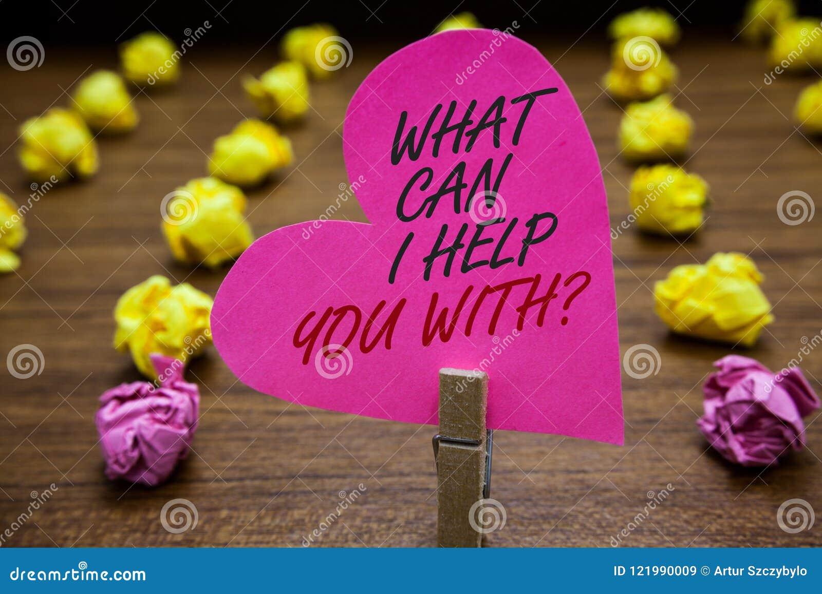 Teksta znaka seans Pomaga Ciebie Z pytaniem Co Może Ja Konceptualne fotografii ofiary pomocy ekspertów rada pomysłów Paperclip ch