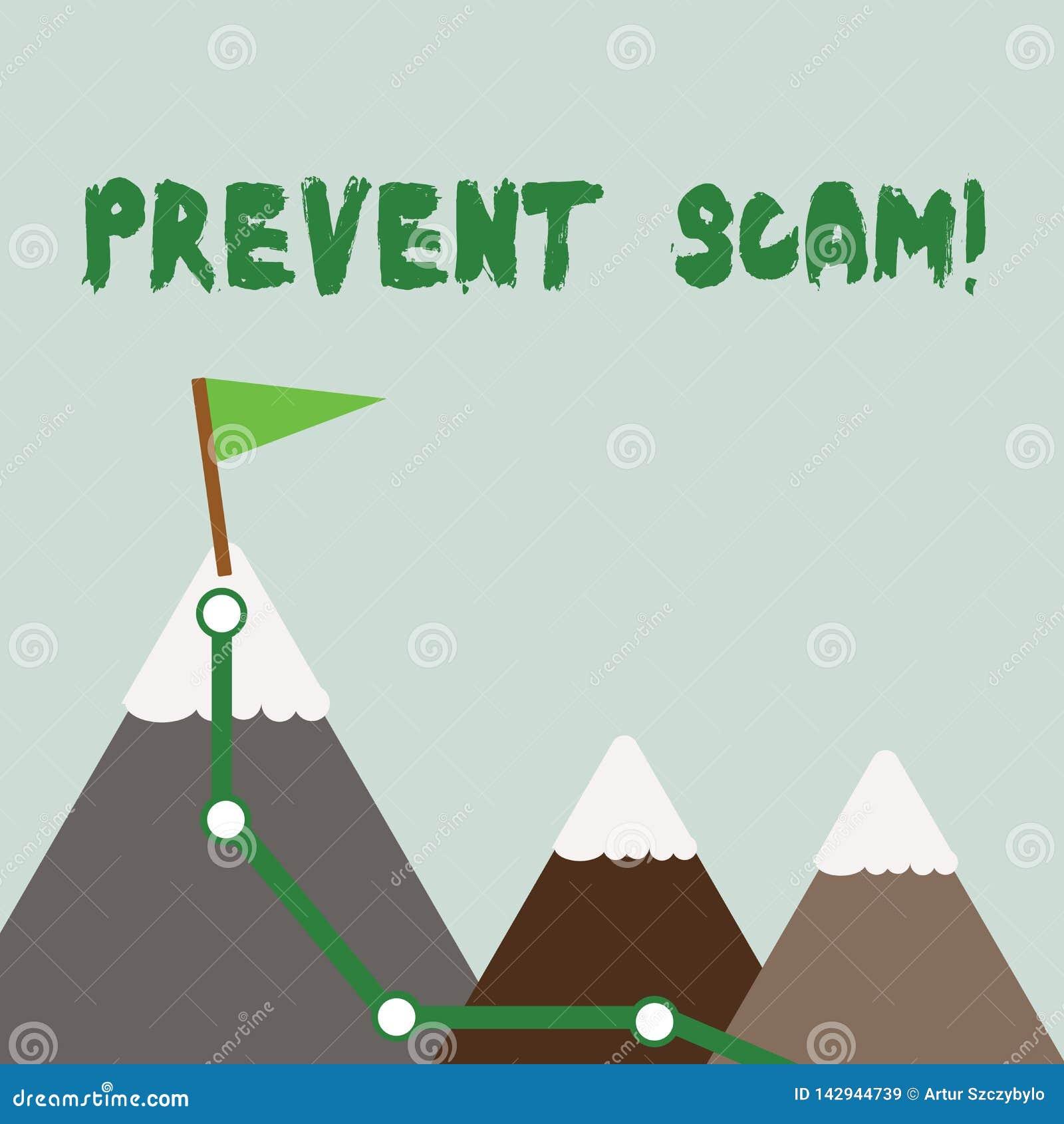 Teksta znaka seans Zapobiega Scam Konceptualnego fotografii ochrona konsumentów oszukańcze transakcje Trzy góry z Wycieczkować