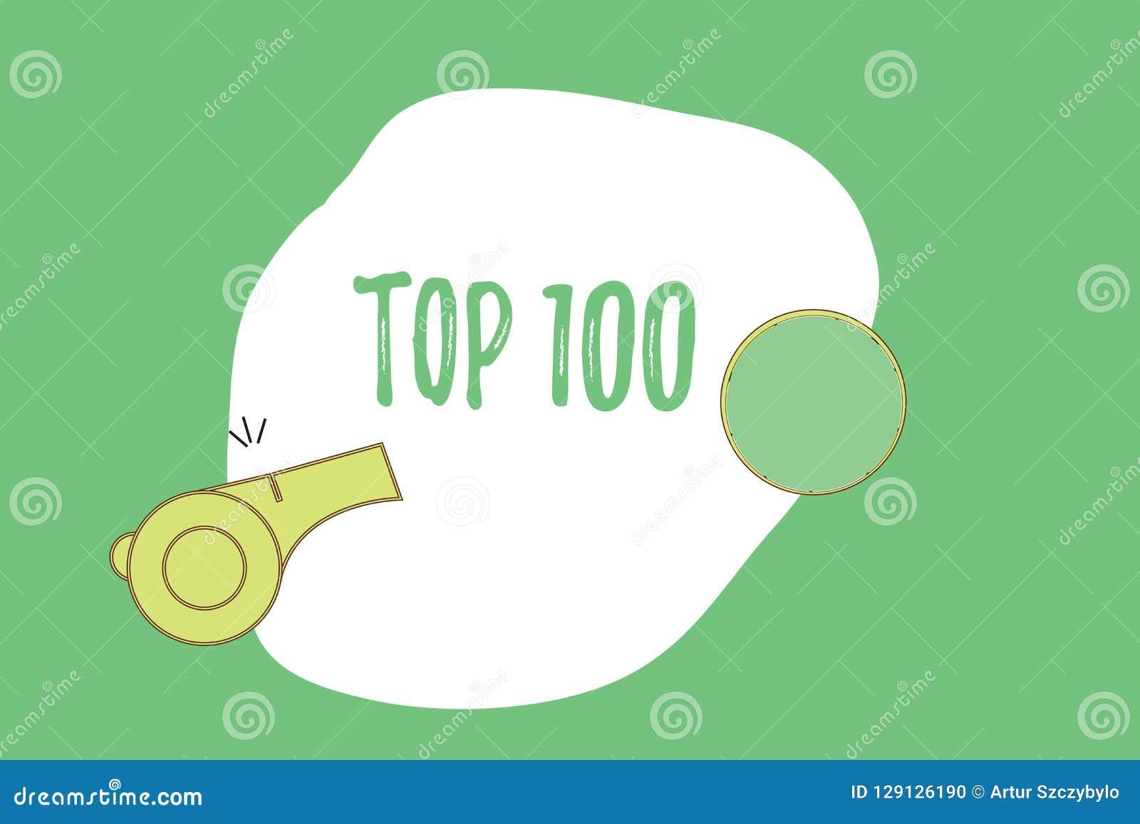 Teksta znaka seansu wierzchołek 100 Konceptualna fotografii lista najlepszy produkty usługuje Popularnego bestseller premii wysok