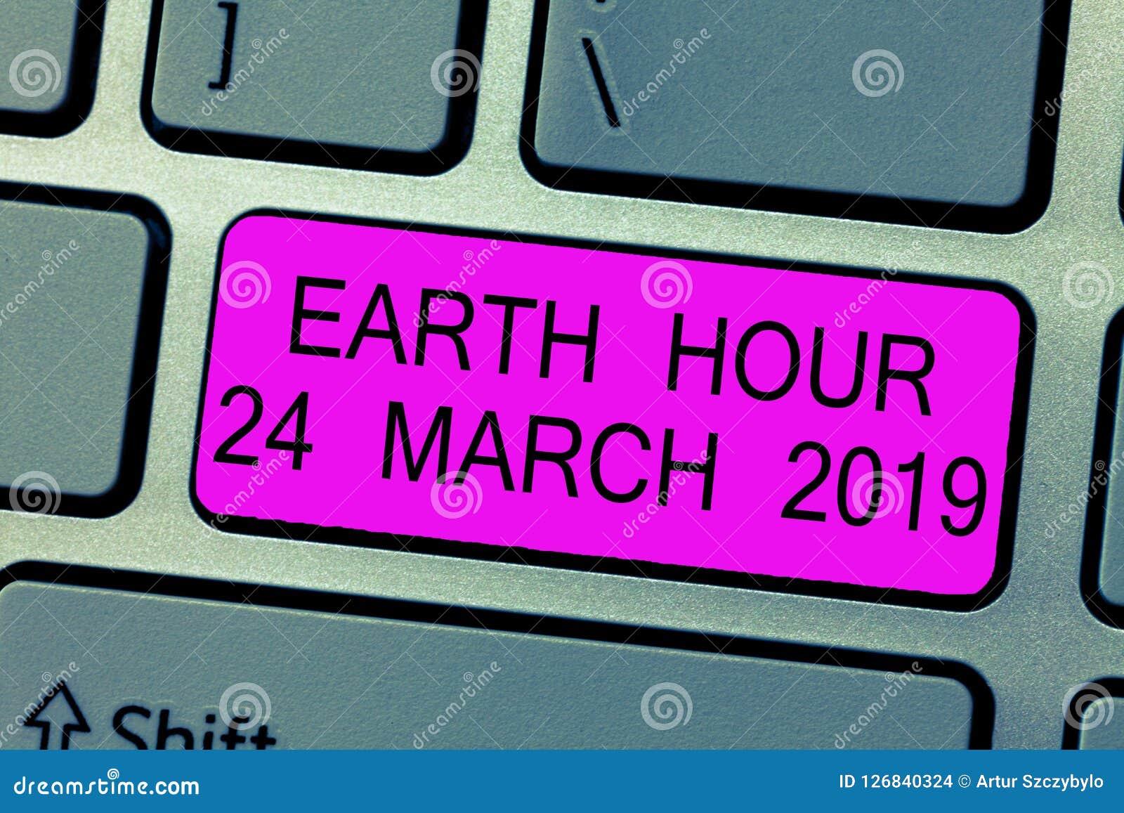 Teksta znaka seansu ziemi godzina 24 Marzec 2019 Konceptualna fotografia Świętuje trwałości Save planeta Zaświeca Daleko