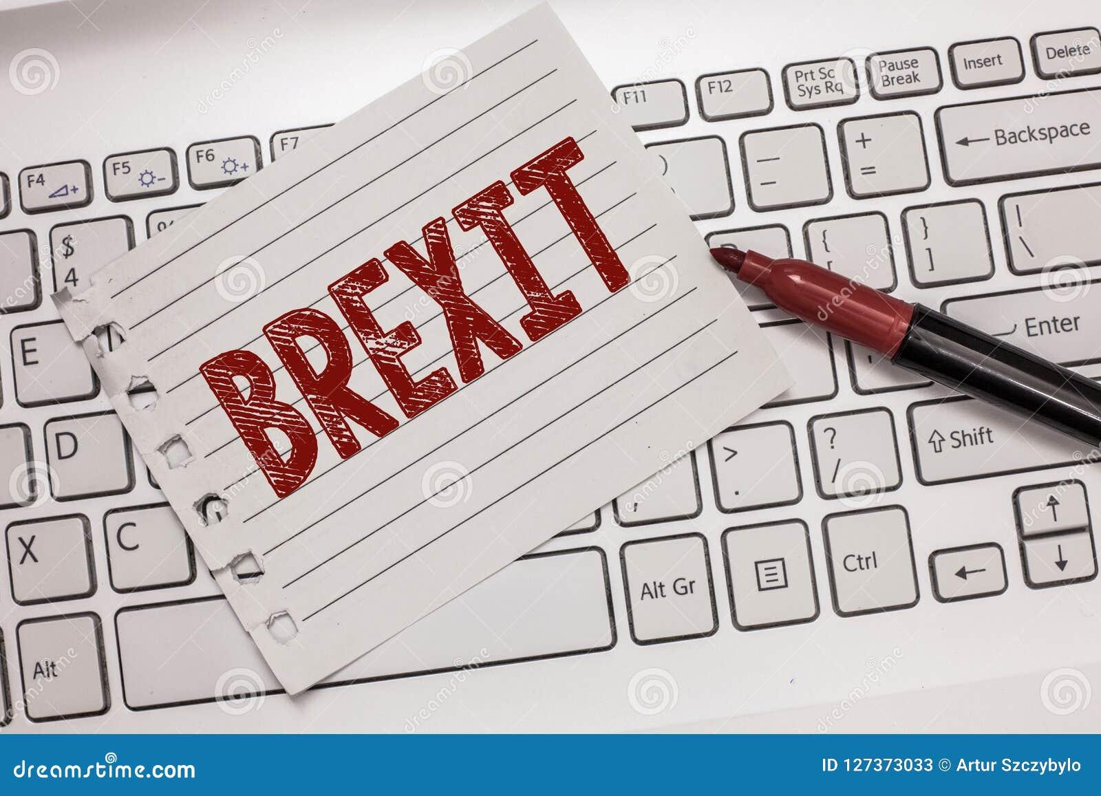 Tekstteken die Brexit tonen Conceptueel fototerm potentieel vertrek van het Verenigd Koninkrijk van Europese Unie