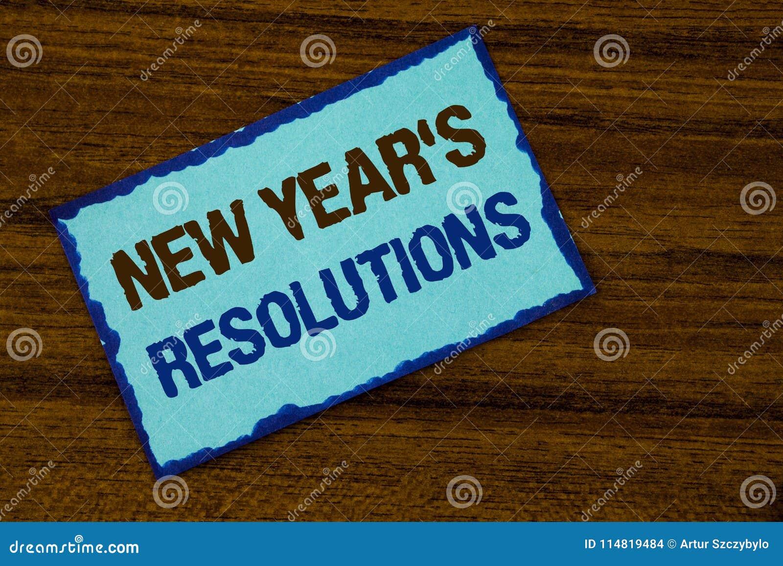 Tekstteken die de Resoluties van Nieuwjaren tonen Conceptuele fotodoelstellingen Doelstellingendoelstellingen Besluiten voor volg