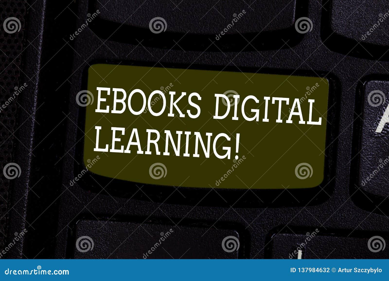 Tekstteken die Ebooks het Digitale Leren tonen De conceptuele publicatie van het fotoboek ter beschikking gesteld in de digitale