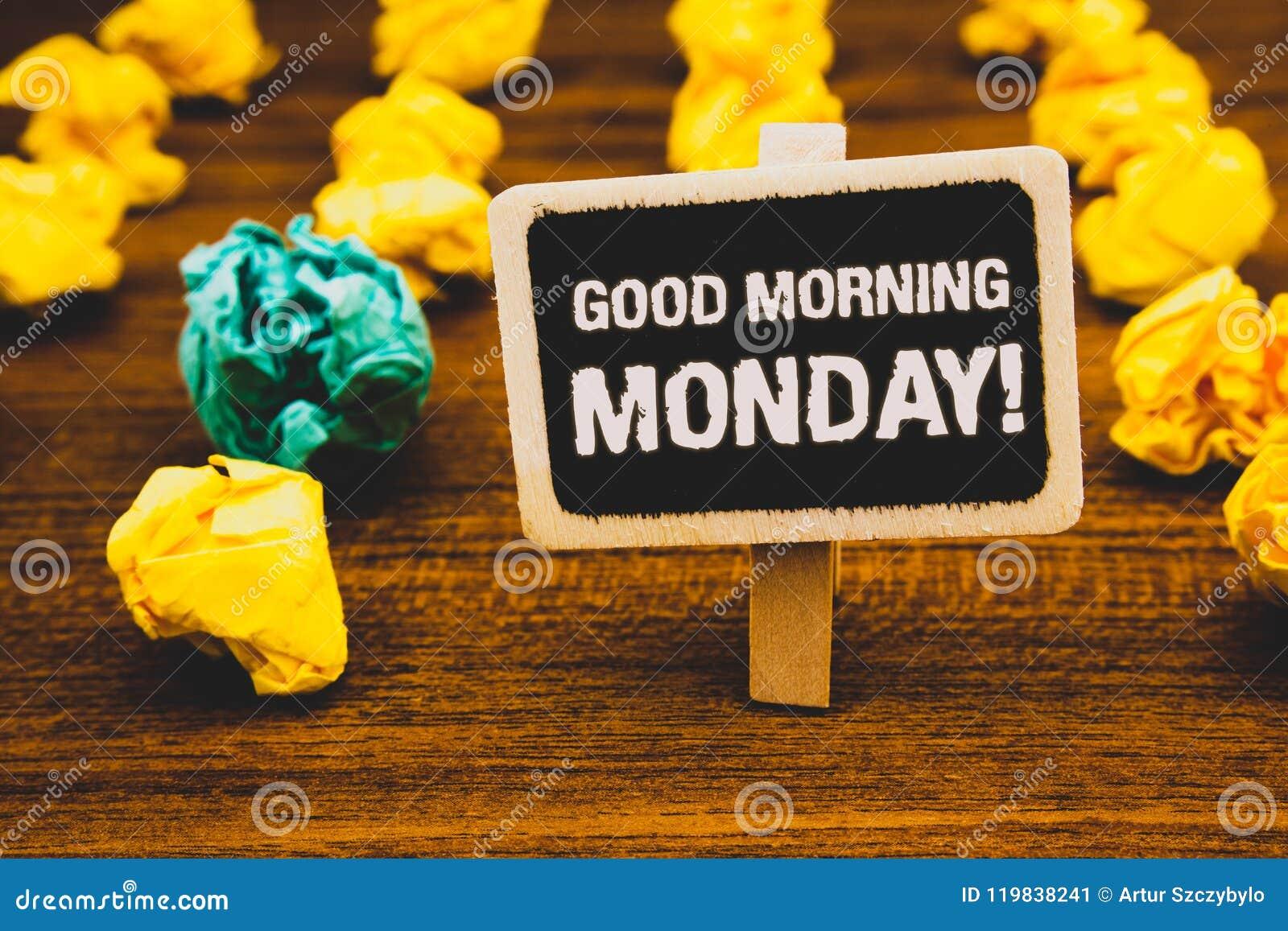 Tekstteken die Goedemorgenmaandag Motievenvraag tonen Het conceptuele Energieke het Ontbijtbord van de foto Gelukkige Positivitei