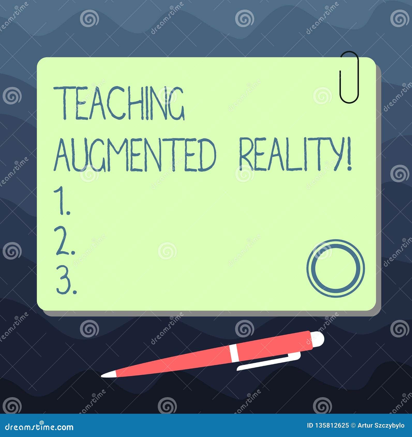 Tekstteken die het Onderwijs Vergrote Werkelijkheid tonen Conceptuele foto het gebruik van AR apps direct in het klaslokaal Lege